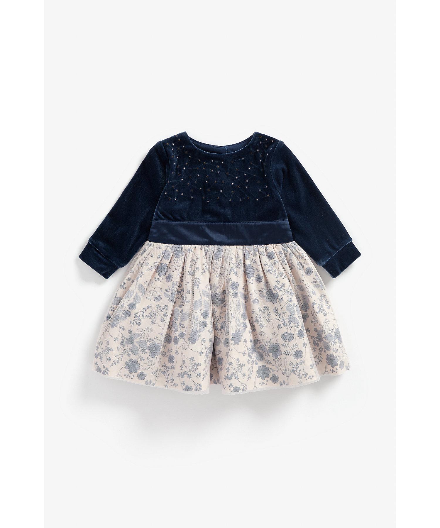 Mothercare | Girls Full Sleeves Velour Party Dress Sequin Detail - Navy