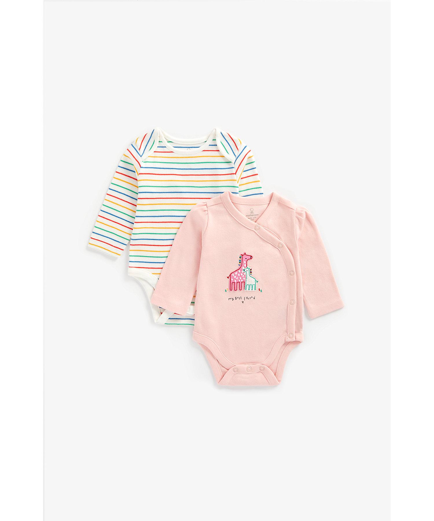 Mothercare | Girls Full Sleeves Bodysuit Giraffe Patchwork - Pack Of 2 - Multicolor