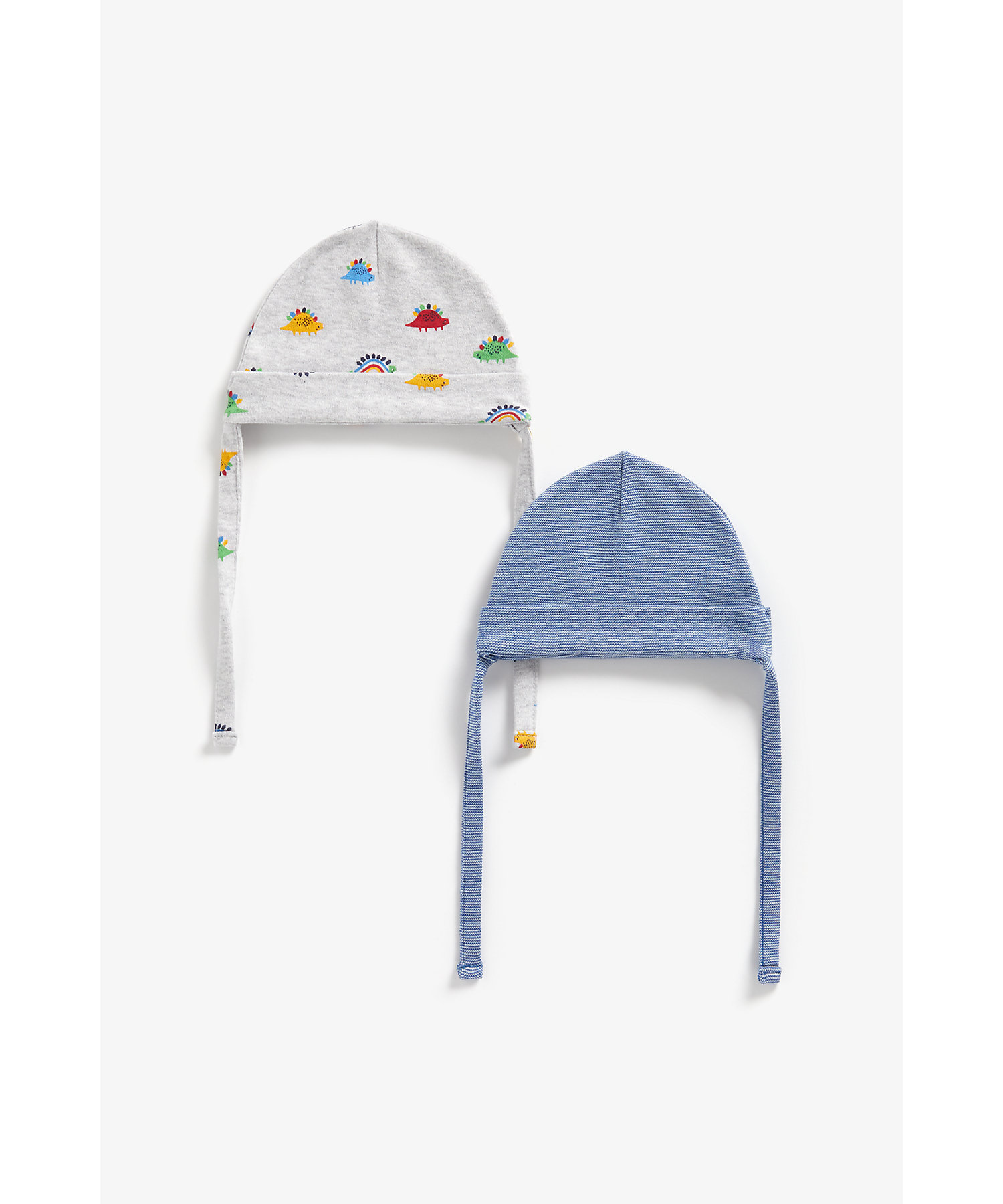 Mothercare | Boys Hats With Ties Dino Print - Pack Of 2 - Multicolor