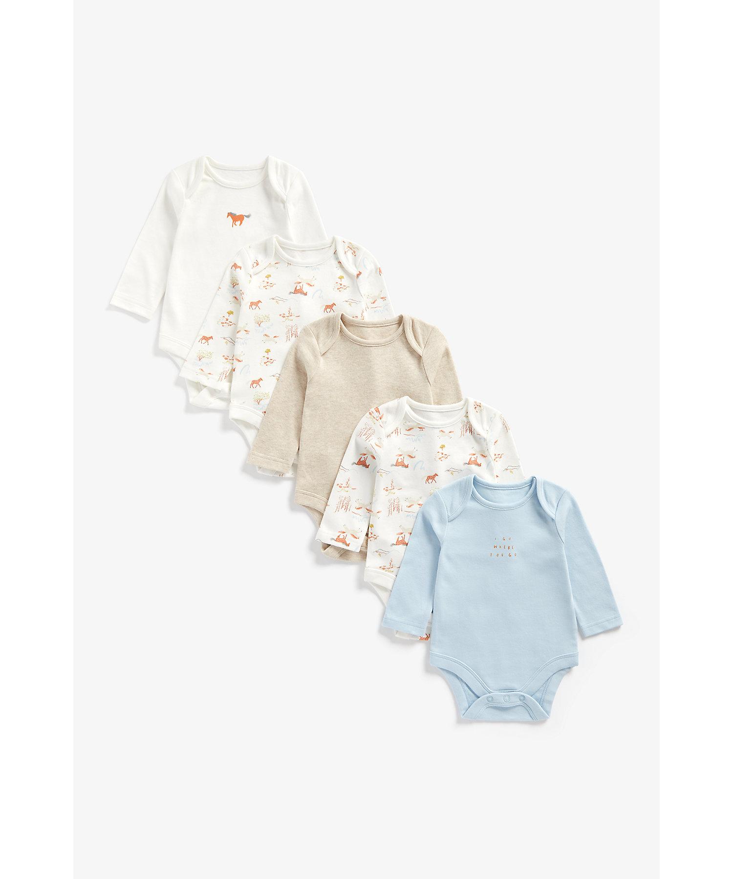 Mothercare | Boys Full Sleeves Bodysuit Horse Print - Pack Of 5 - Multicolor