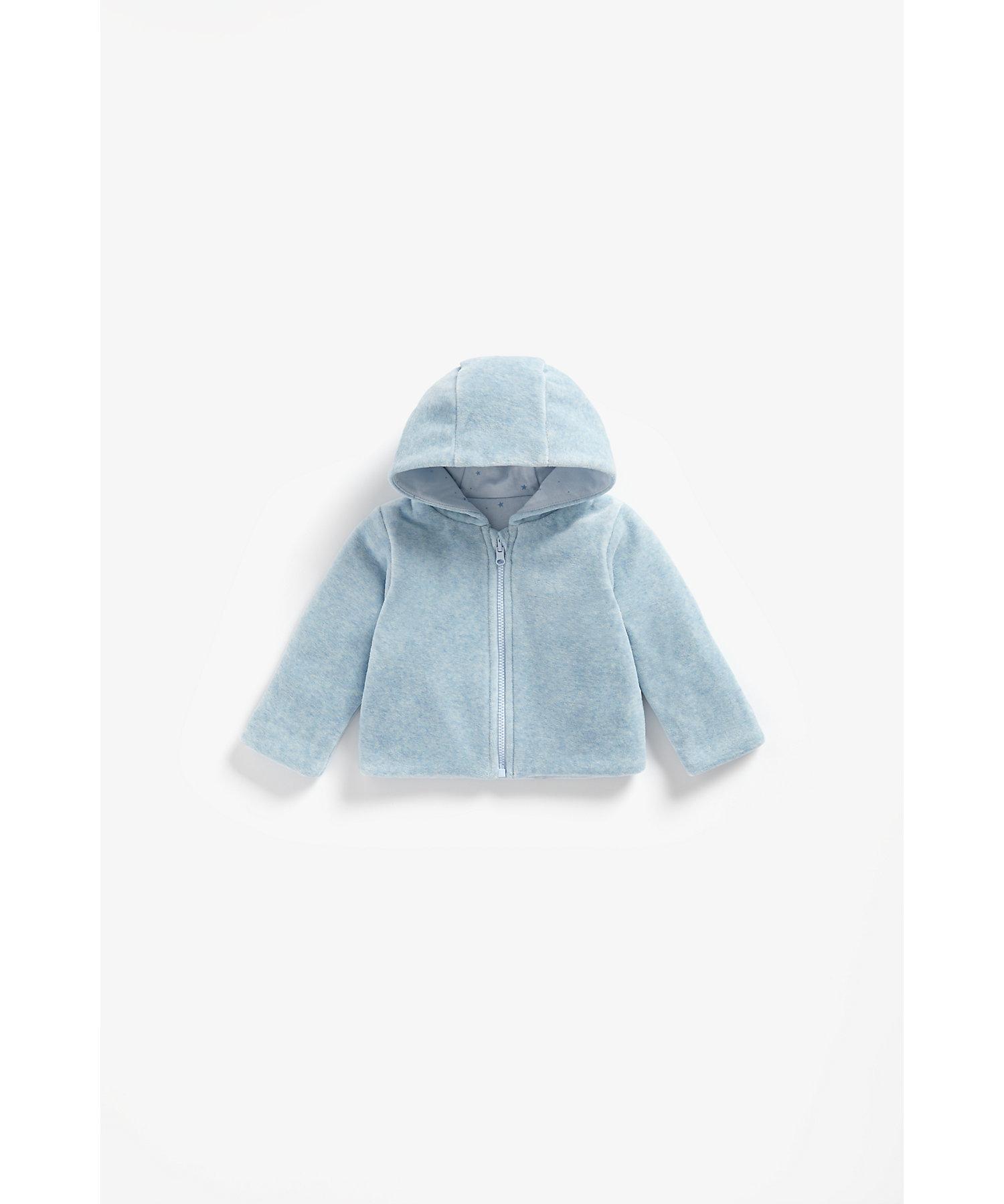 Mothercare | Boys Full Sleeves Reversible Velour Jacket Hooded - Blue