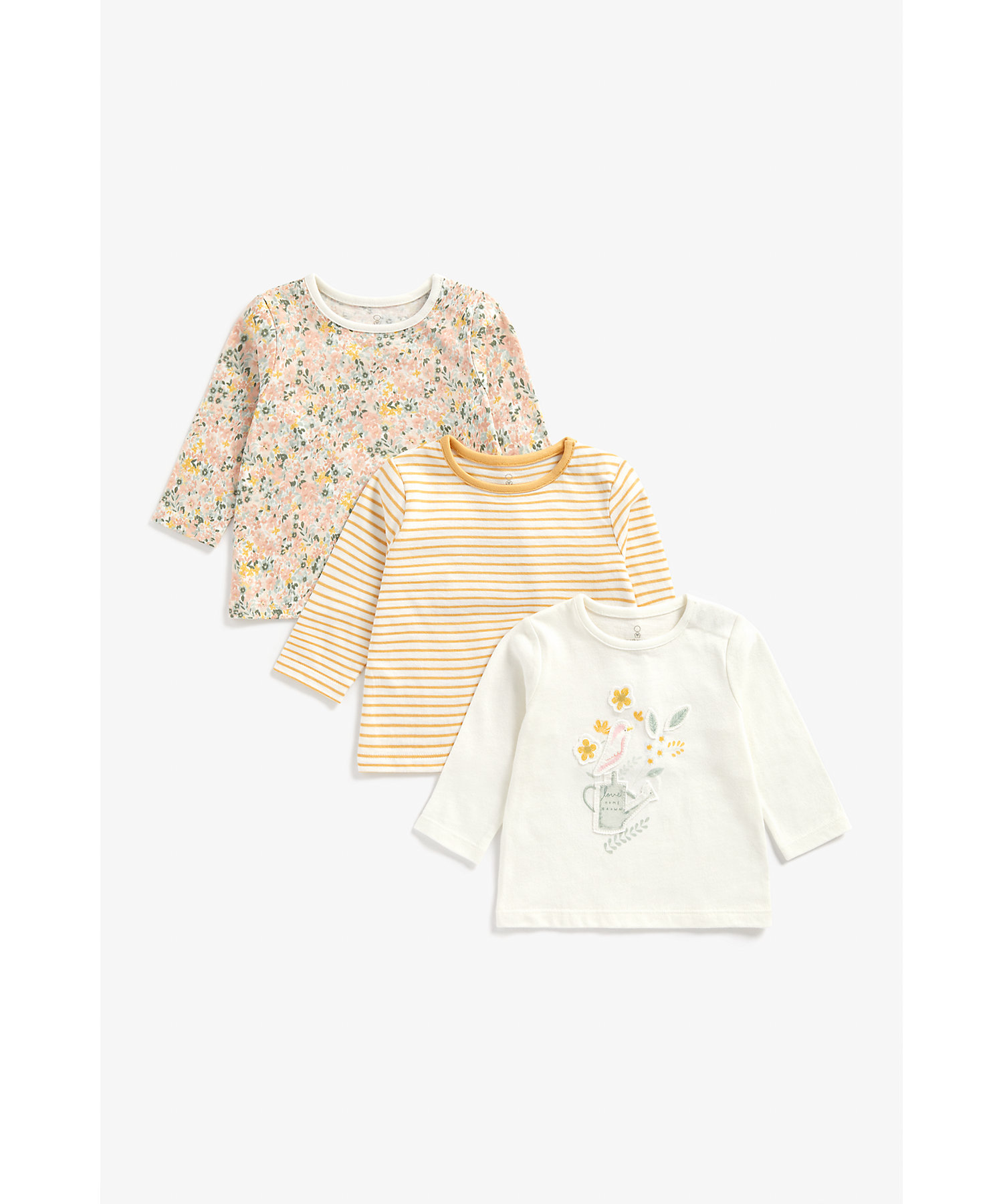 Mothercare | Girls Full Sleeves T-Shirt Bird And Flower Patchwork - Pack Of 3 - Multicolor