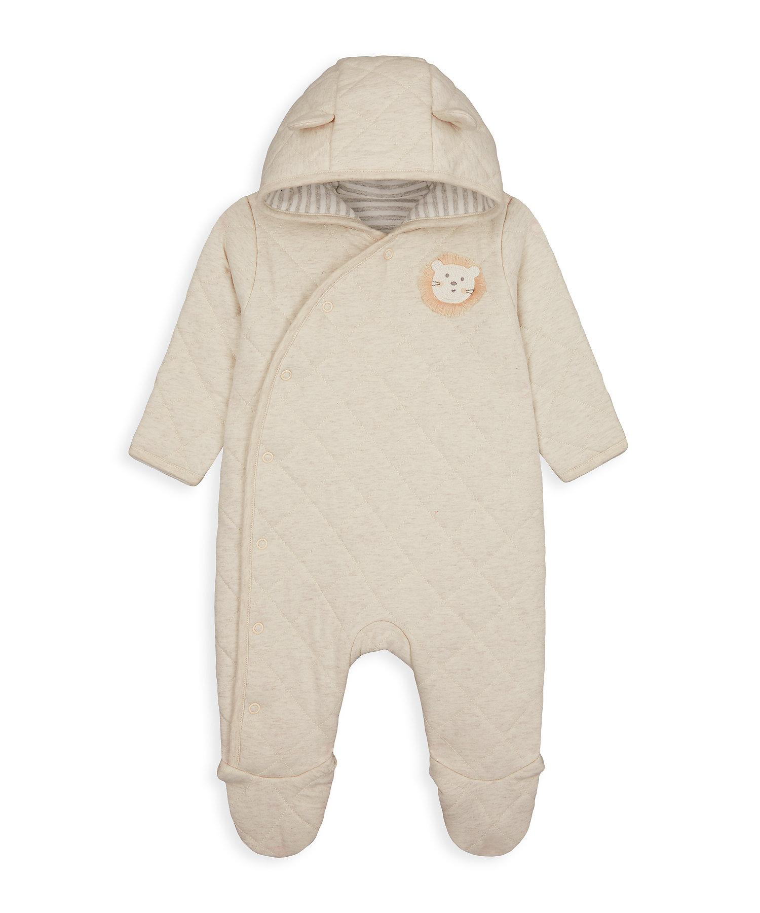 Mothercare | Unisex Full Sleeves Snowsuit 3D Lion Details - Beige