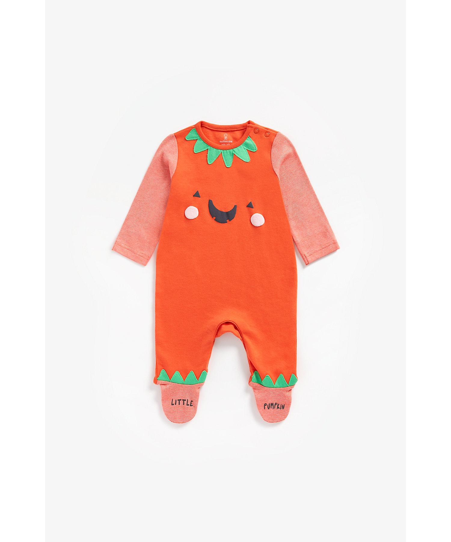 Mothercare | Unisex Full Sleeves Romper Pumpkin Patchwork - Orange