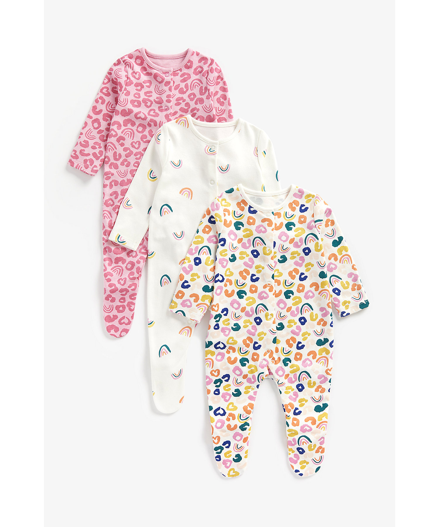 Mothercare   Girls Full Sleeves Sleepsuits -Pack of 3-Multicolor