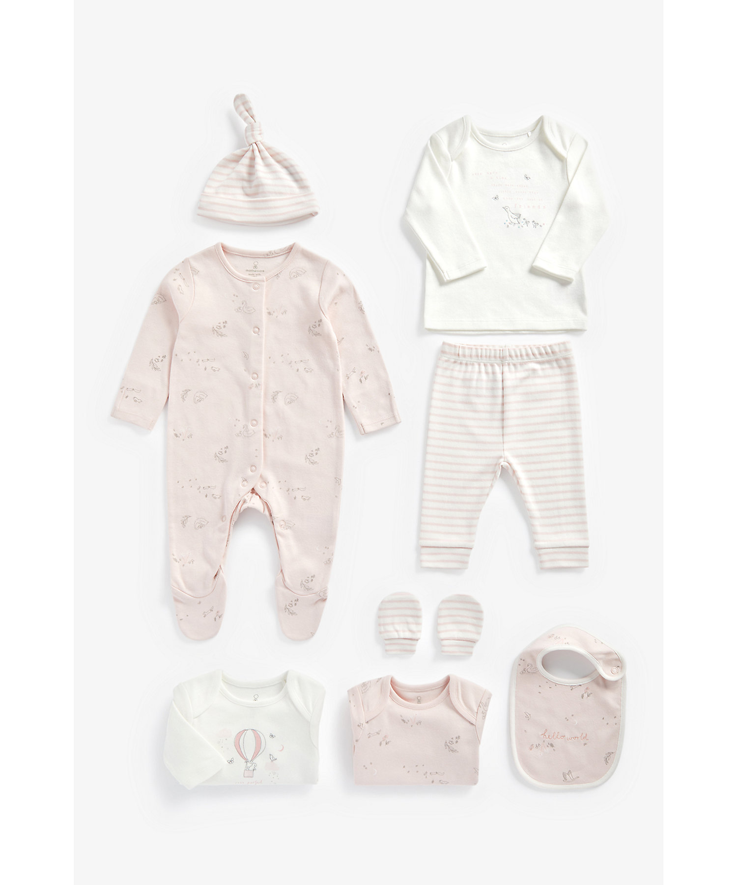 Mothercare | Girls 8 Piece Set Printed And Striped - Pink