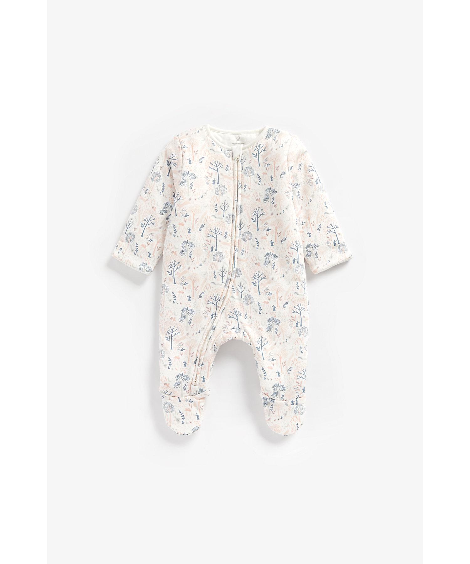 Mothercare   Girls Full Sleeves Wadded Sleepsuit Woodland Print - Multicolor