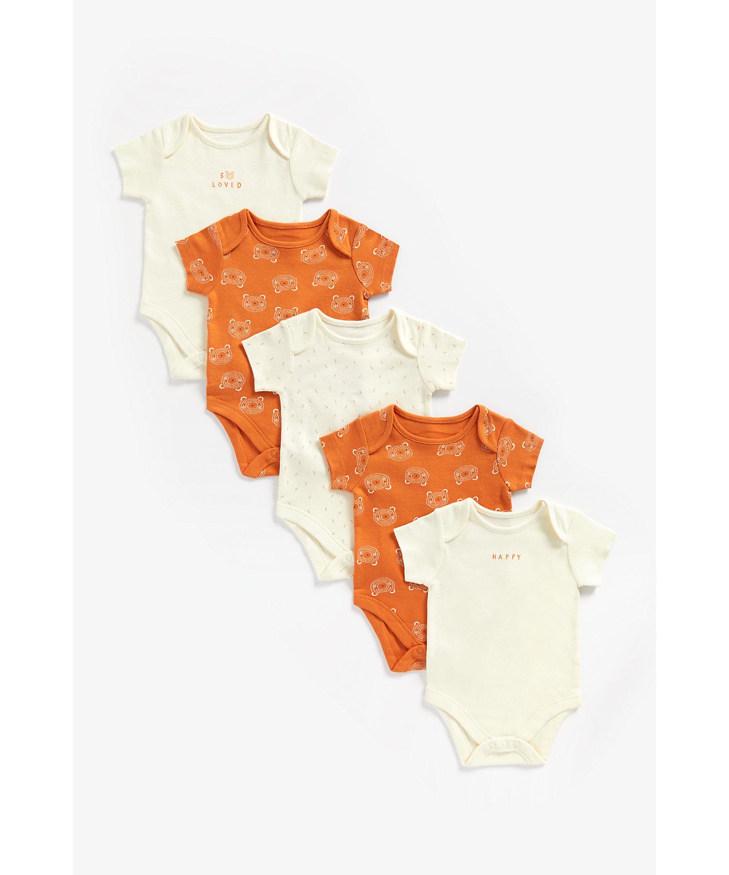 Mothercare   Unisex Half Sleeves Bodysuit Bear Print - Pack Of 5 - Brown