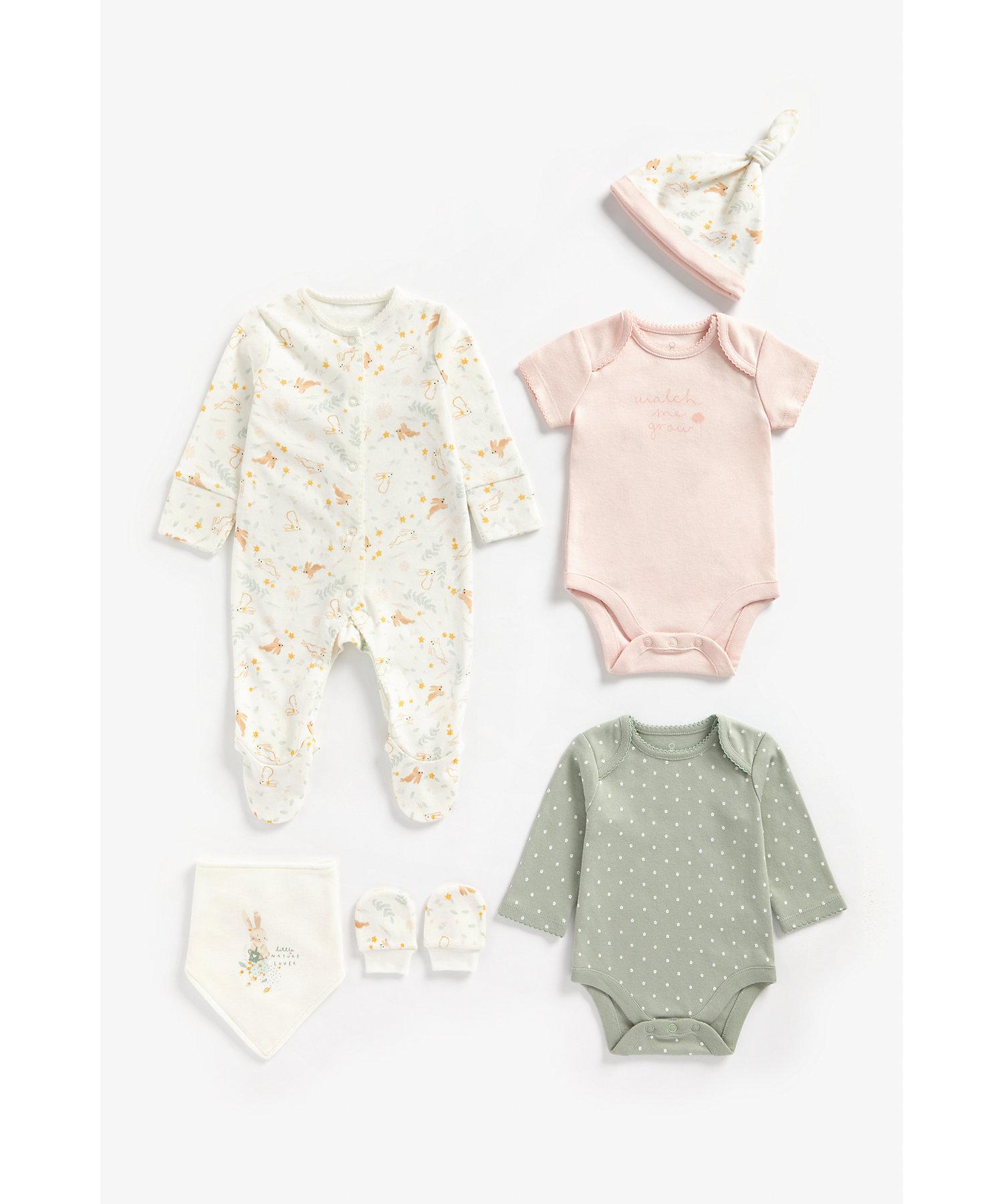 Mothercare   Girls 6 Piece Set Bunny Print - Multicolor