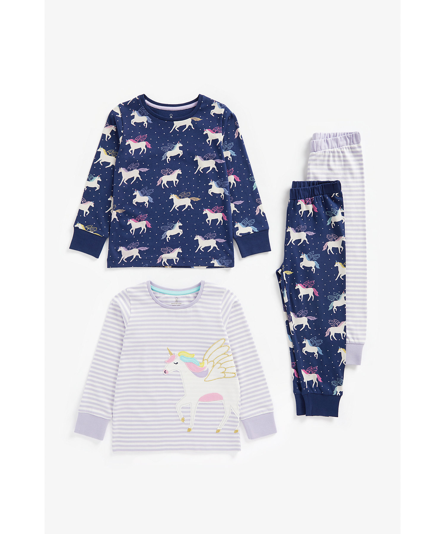 Mothercare | Girls Full Sleeves Pyjama Set Unicorn Patchwork - Pack Of 2 - Multicolor