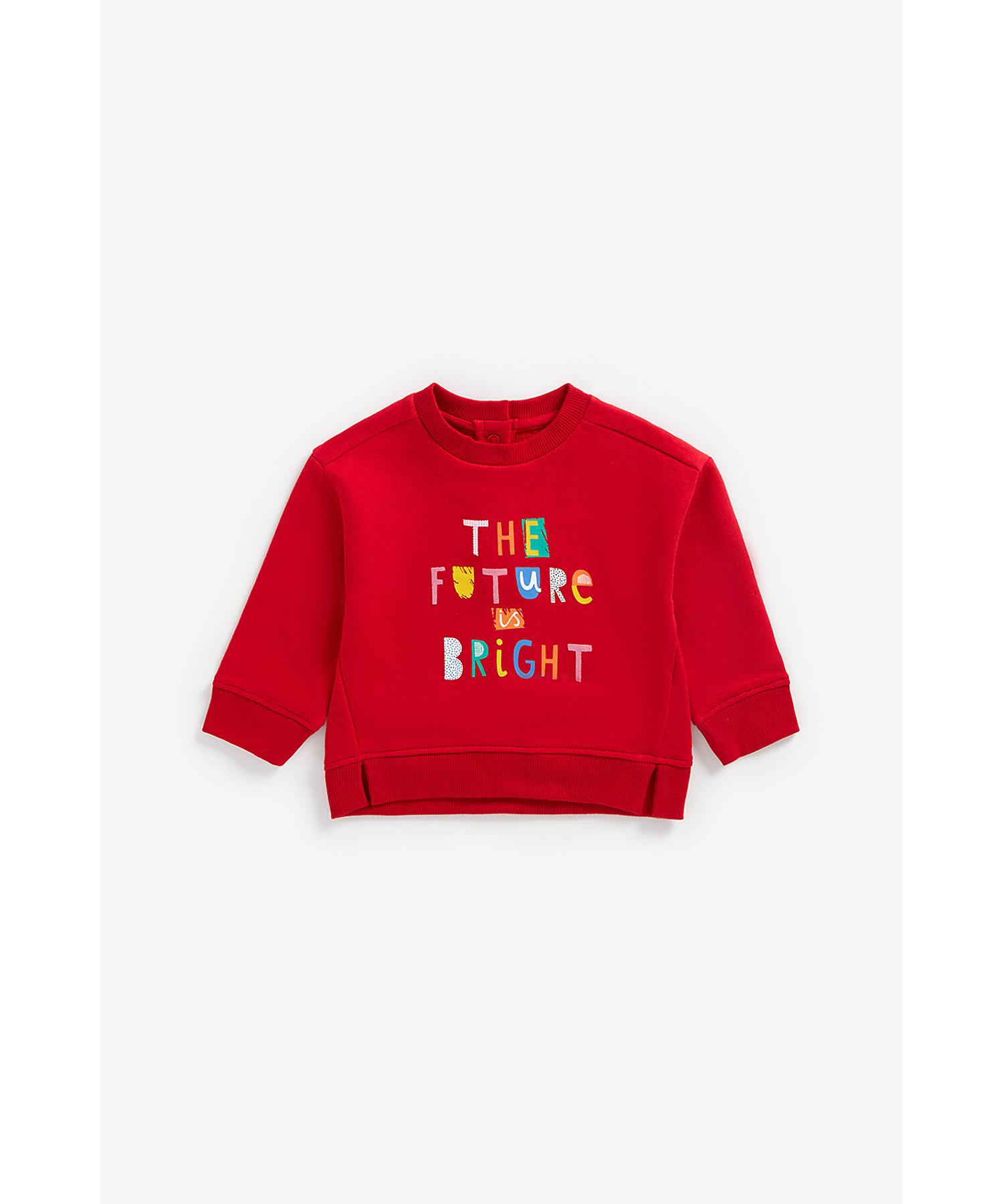 Mothercare | Girls Full Sleeves Sweatshirt Slogan Print - Red