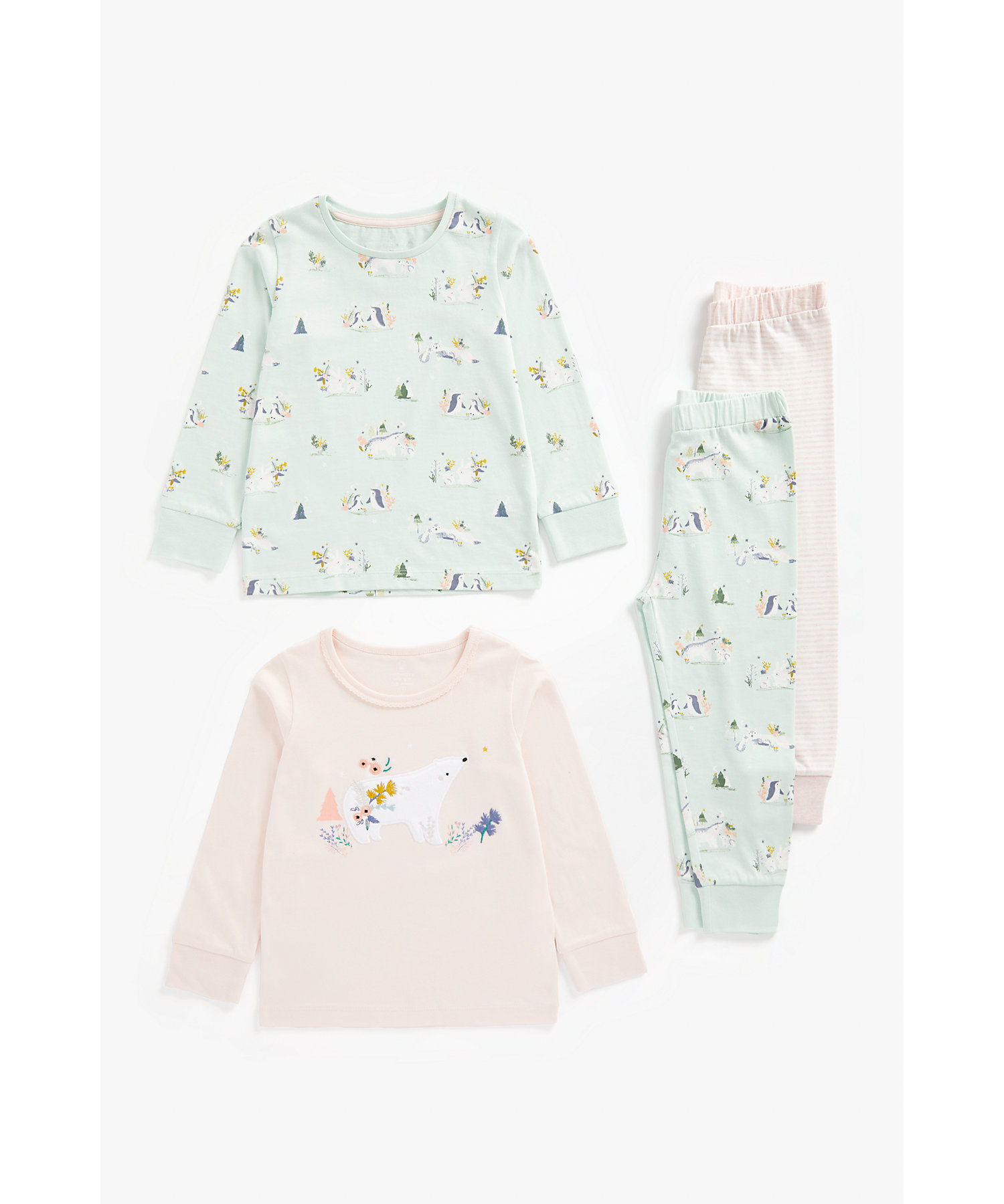 Mothercare   Girls Full Sleeves Pyjama Set Polar Bear Embroidery - Pack Of 2 - Multicolor