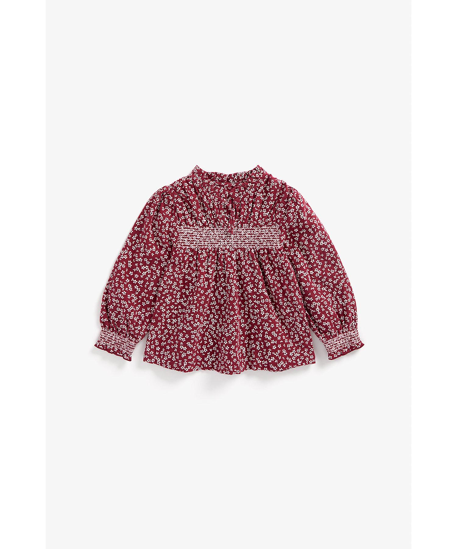 Mothercare | Girls Full Sleeves Smocked Top Floral Print - Burgundy