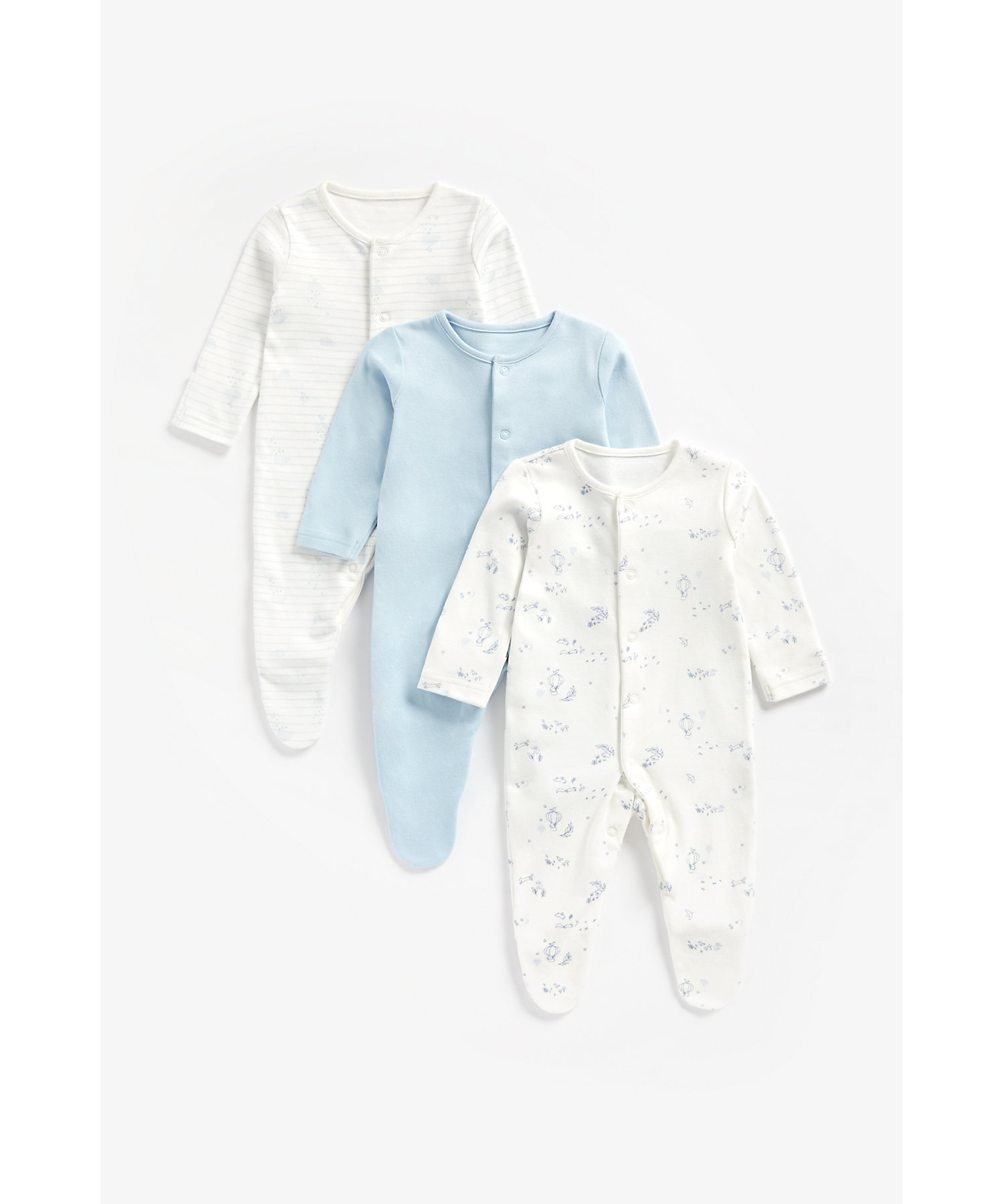Mothercare | Boys Full Sleeves Sleepsuit Striped And Printed - Pack Of 3 - Blue