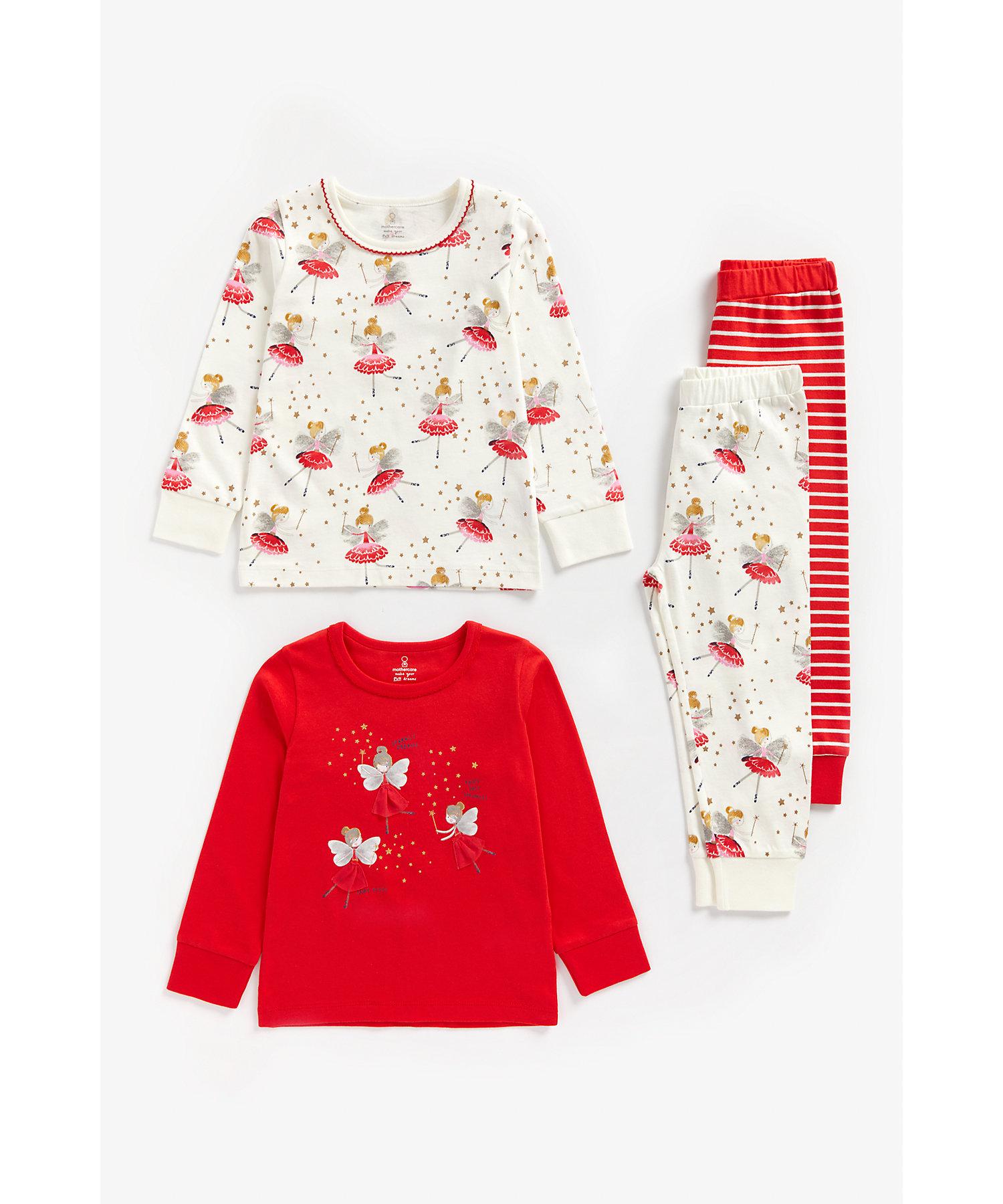Mothercare   Girls Full Sleeves Pyjama Set Fairy Print - Pack Of 2 - Multicolor