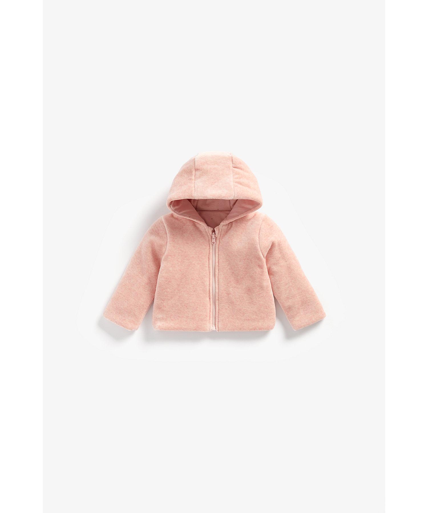 Mothercare | Girls Full Sleeves Reversible Velour Jacket Hooded - Pink