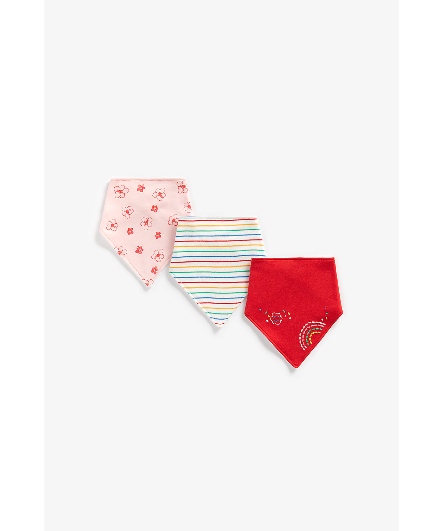 Mothercare | Girls Bibs Rainbow Embroidery - Pack Of 3 - Multicolor