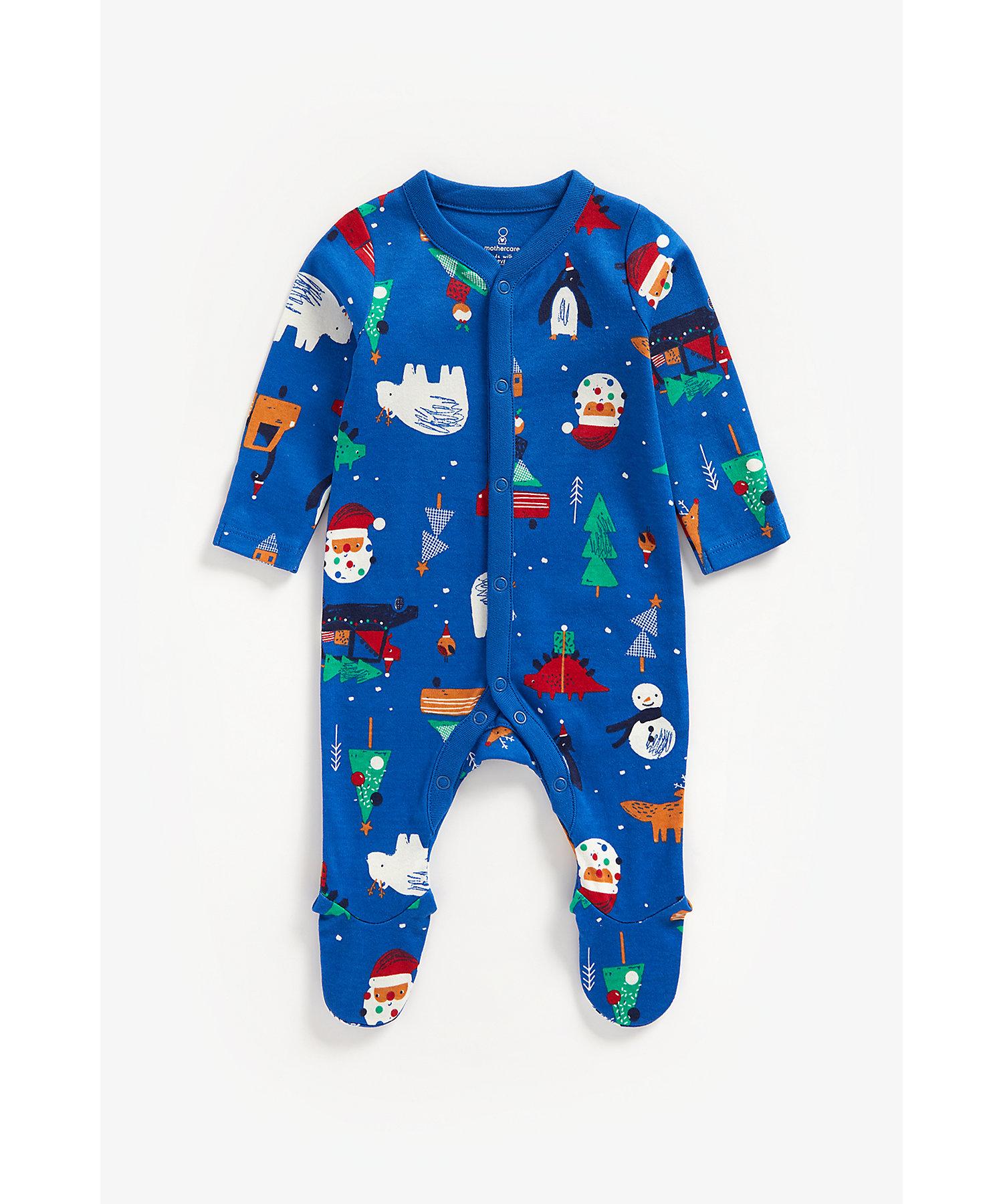 Mothercare | Boys Full Sleeves Sleepsuit Christmas Design-Navy