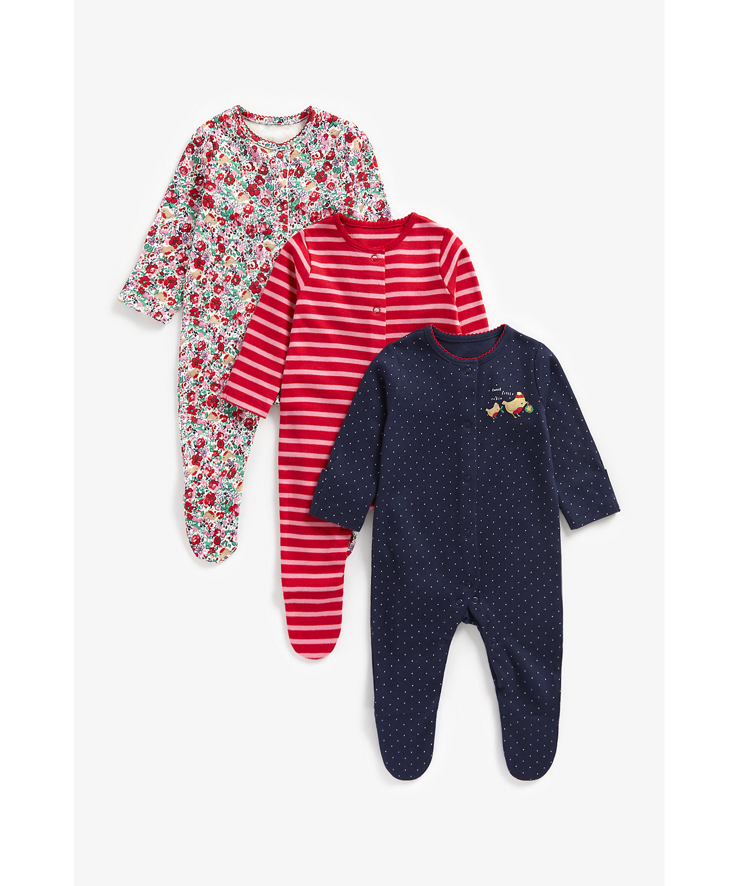 Mothercare | Girls Full Sleeves Sleepsuits -Pack of 3-Multicolor