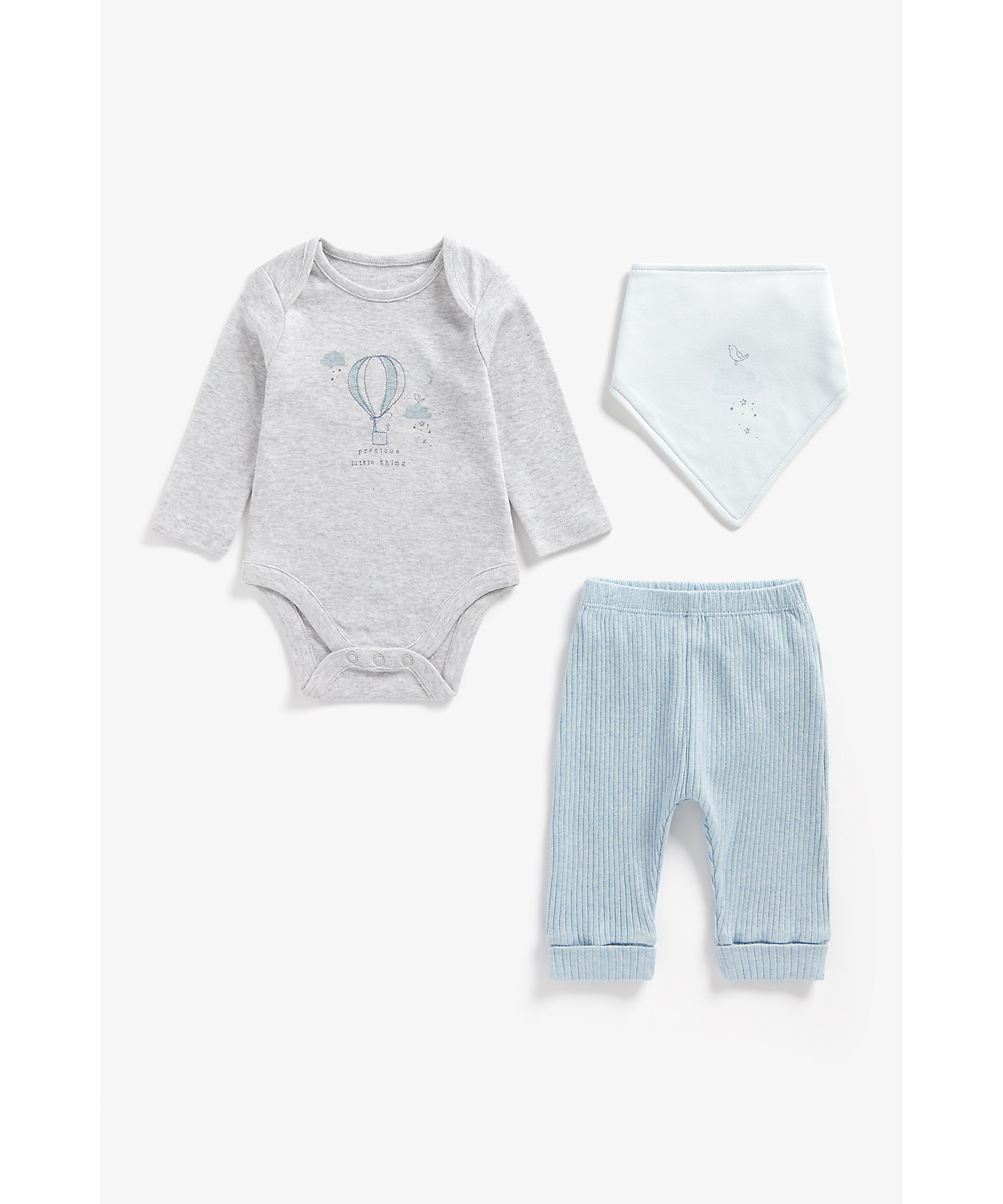 Mothercare   Boys Full Sleeves 3 Piece Set Hot Air Balloon Embroidery - Blue