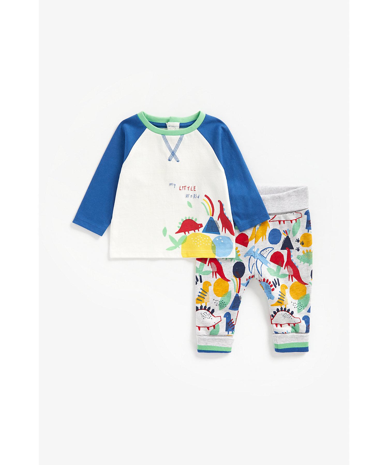 Mothercare | Boys Full Sleeves Jog Set Dino Print - Multicolor