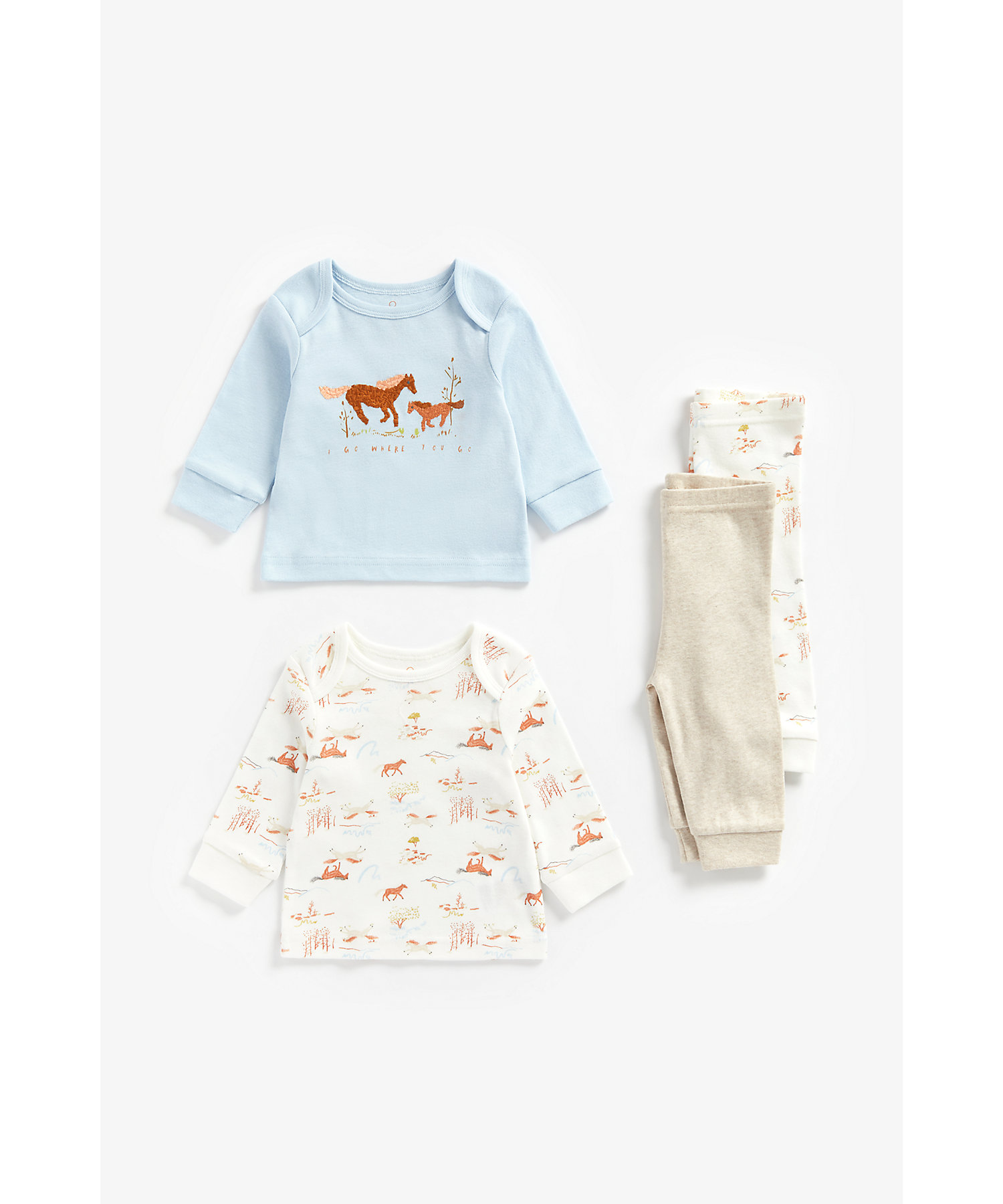 Mothercare | Boys Full Sleeves Pyjama Set Horse Embroidery - Pack Of 2 - Multicolor