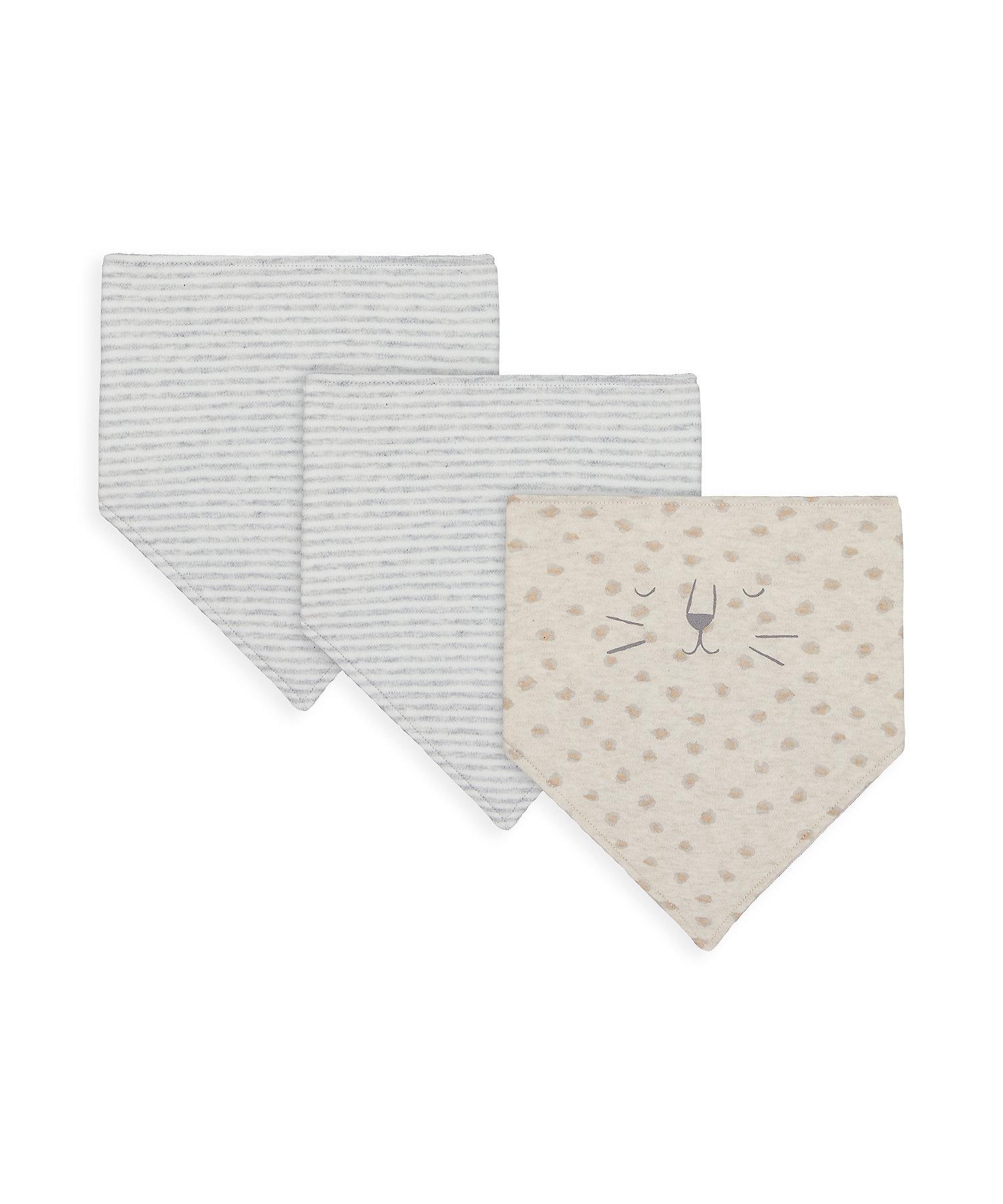 Mothercare   Unisex Bibs Leopard Print - Pack Of 3 - Grey