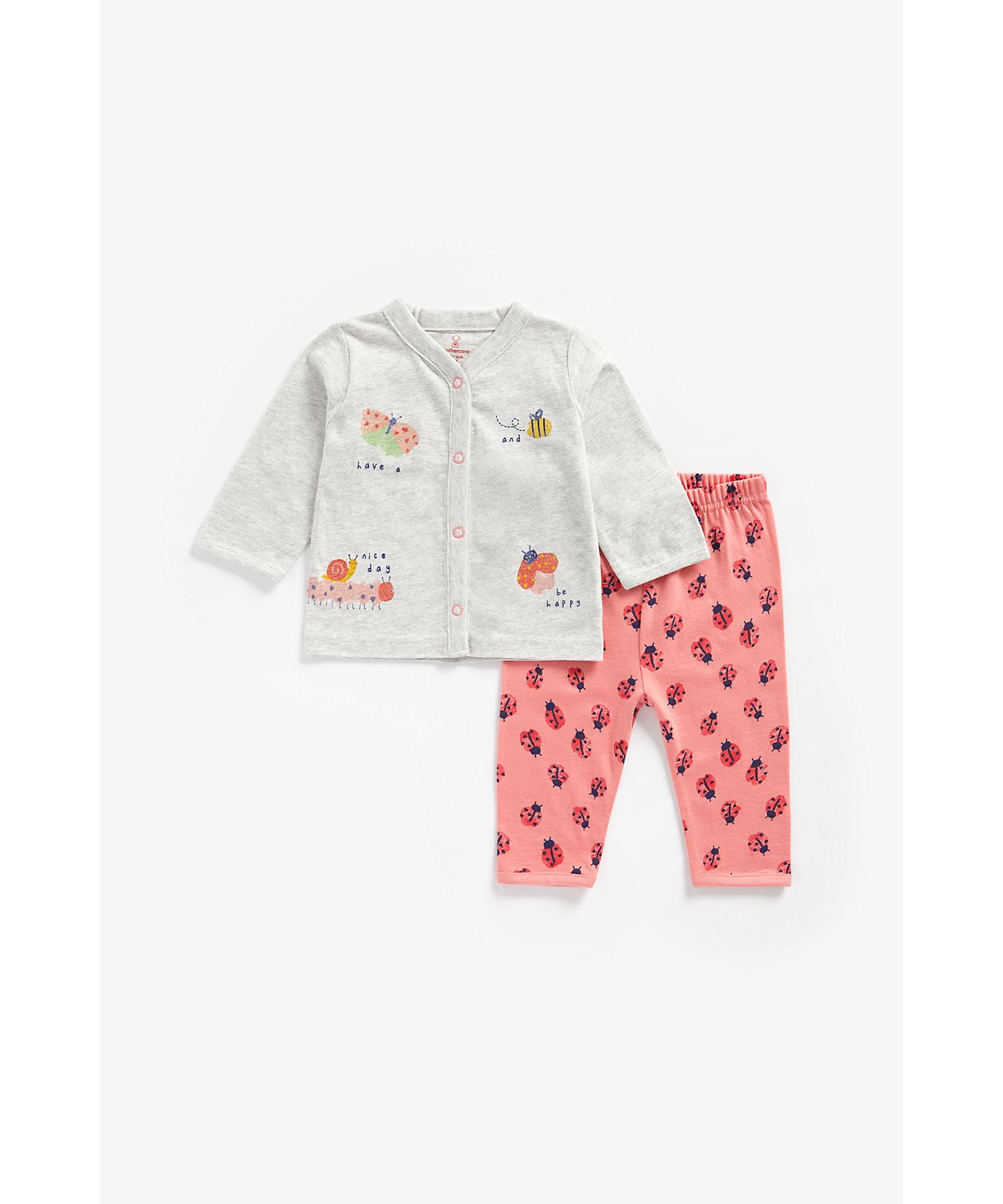 Mothercare | Girls Full Sleeves Pyjama Set Bug Print - Multicolor