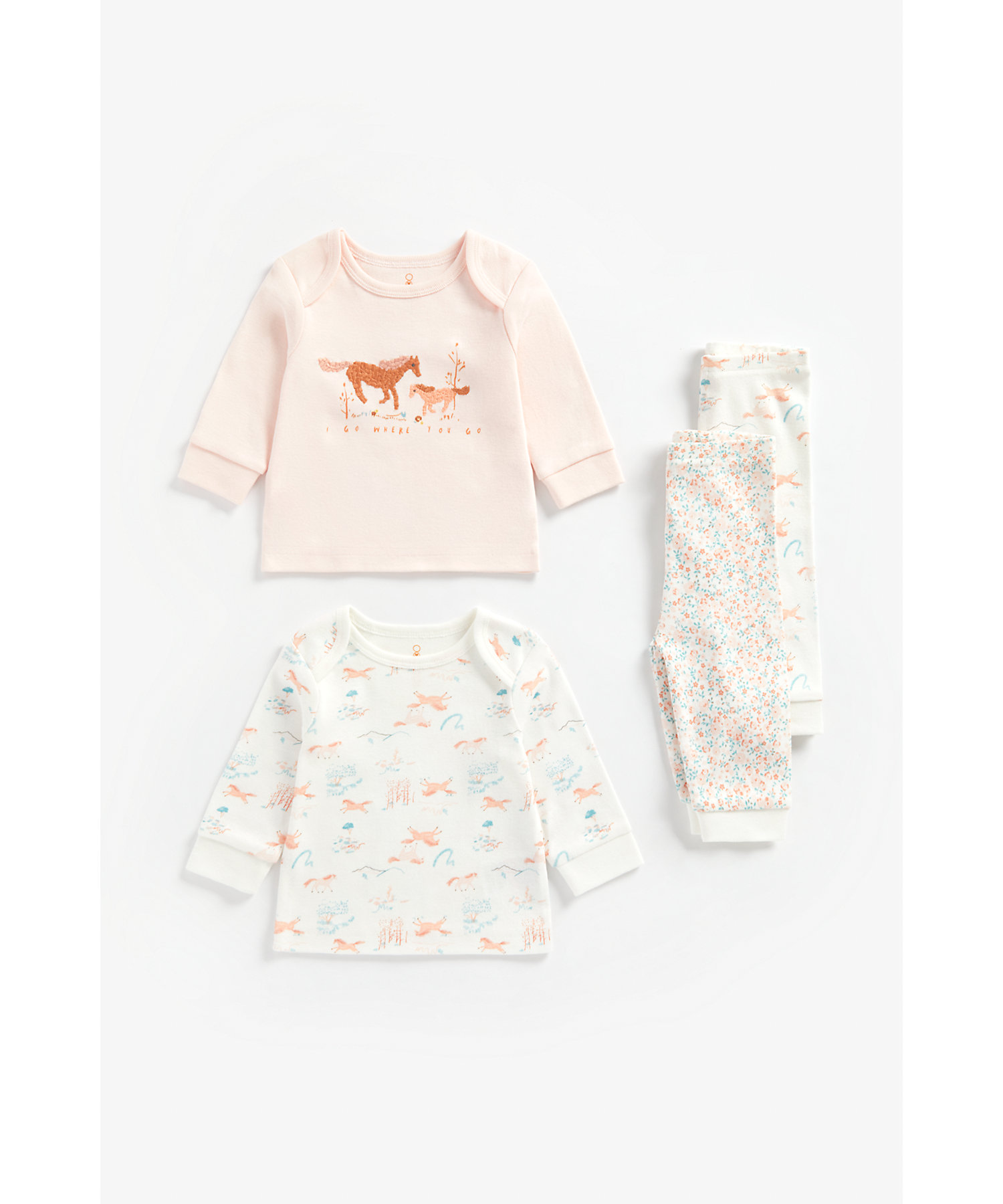 Mothercare   Girls Full Sleeves Pyjama Set Horse Embroidery And Floral Print - Pack Of 2 - Multicolor