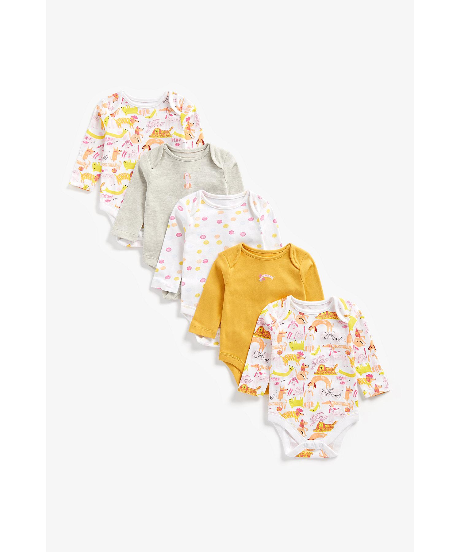 Mothercare | Girls Full Sleeves Bodysuit Dog Print - Pack Of 5 - Multicolor