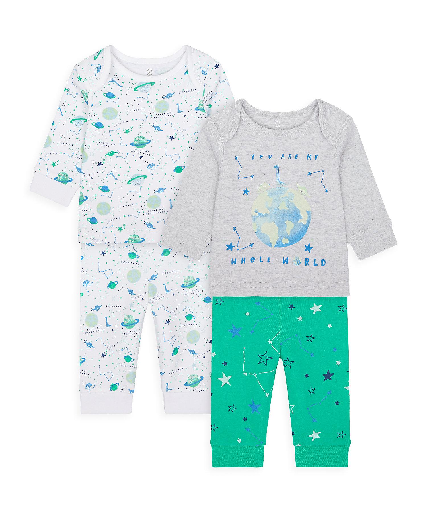 Mothercare | Boys Full Sleeves Pyjama Set Space Print - Pack Of 2 - Multicolor
