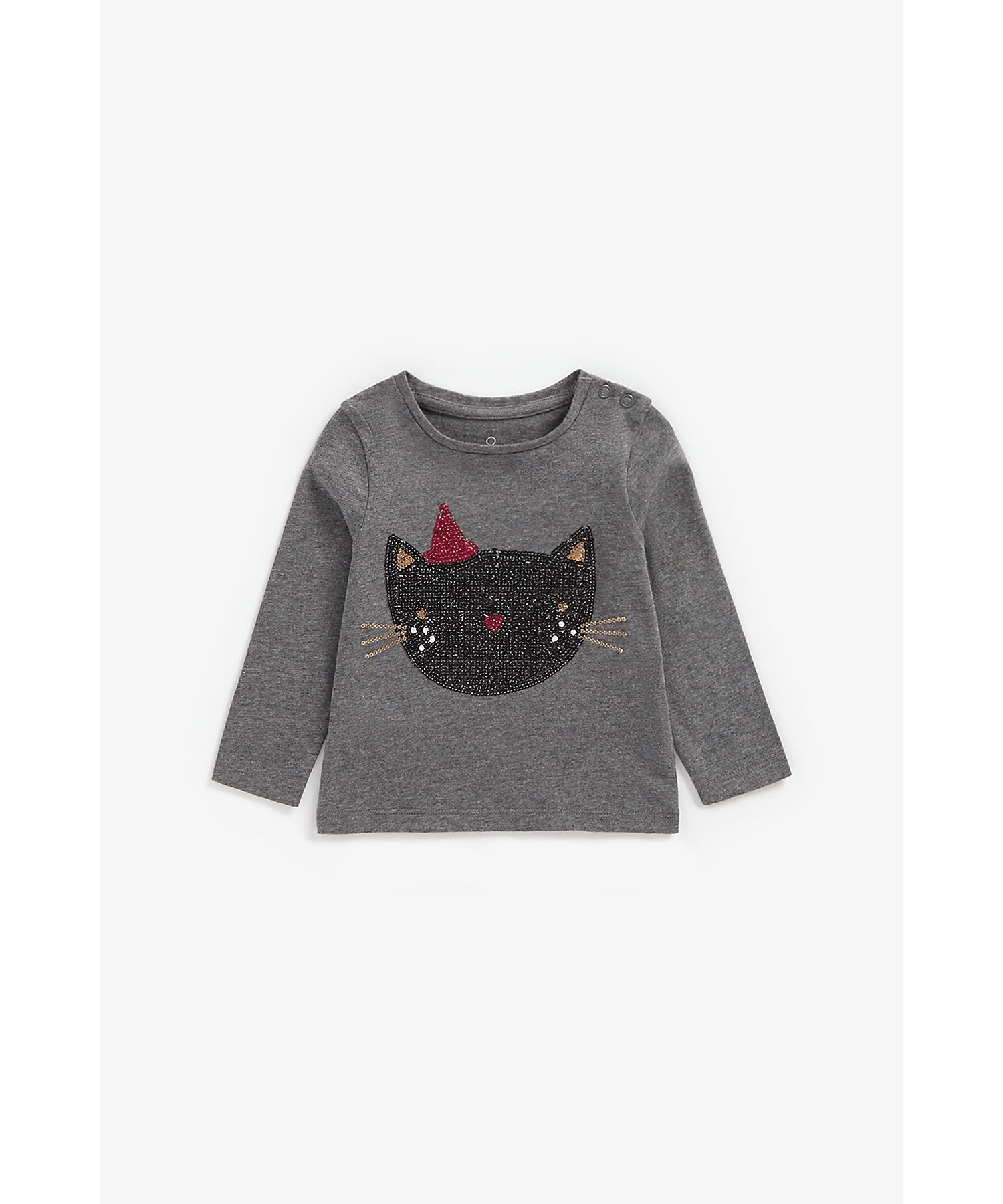 Mothercare | Girls Full Sleeves T-Shirt Cat Sequin Detail - Grey