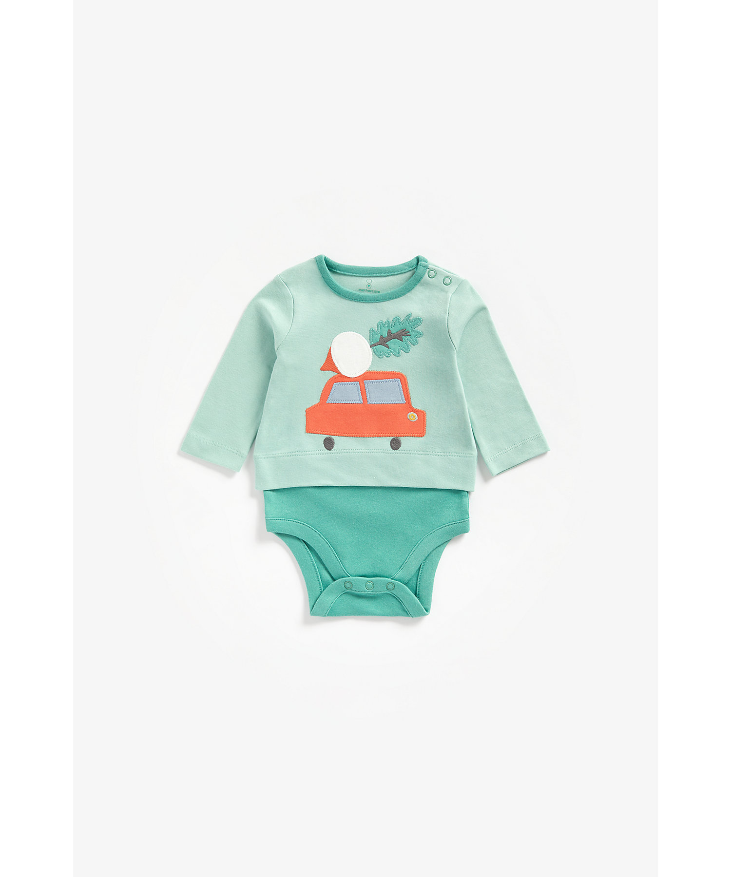 Mothercare | Boys Full Sleeves Mock Bodysuit Car Patchwork - Green