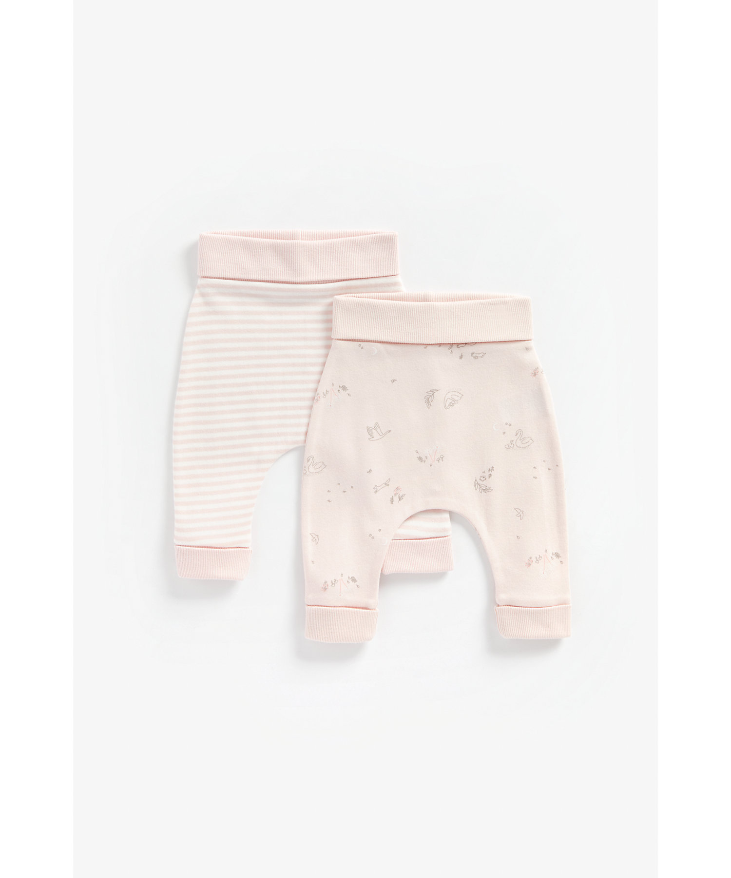 Mothercare   Girls Joggers Striped And Swan Print - Pack Of 2 - Pink