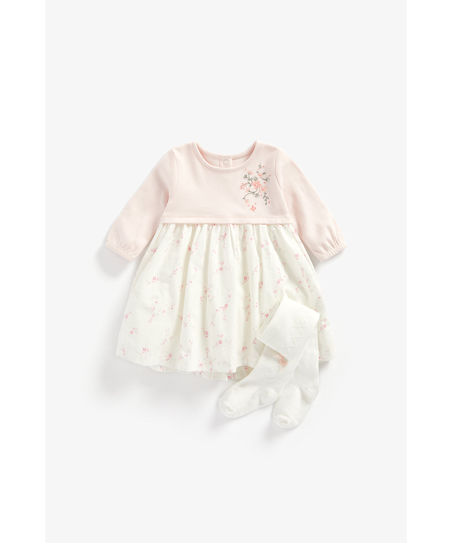 Mothercare | Girls Full Sleeves Dress And Tights Set Floral Embroidery - Pink