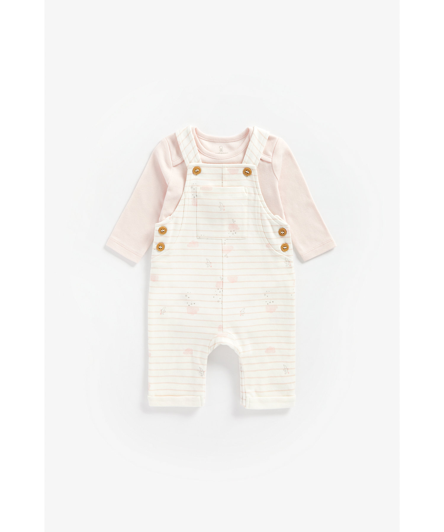 Mothercare   Girls Full Sleeves Dungaree Set Cloud Print - Pink