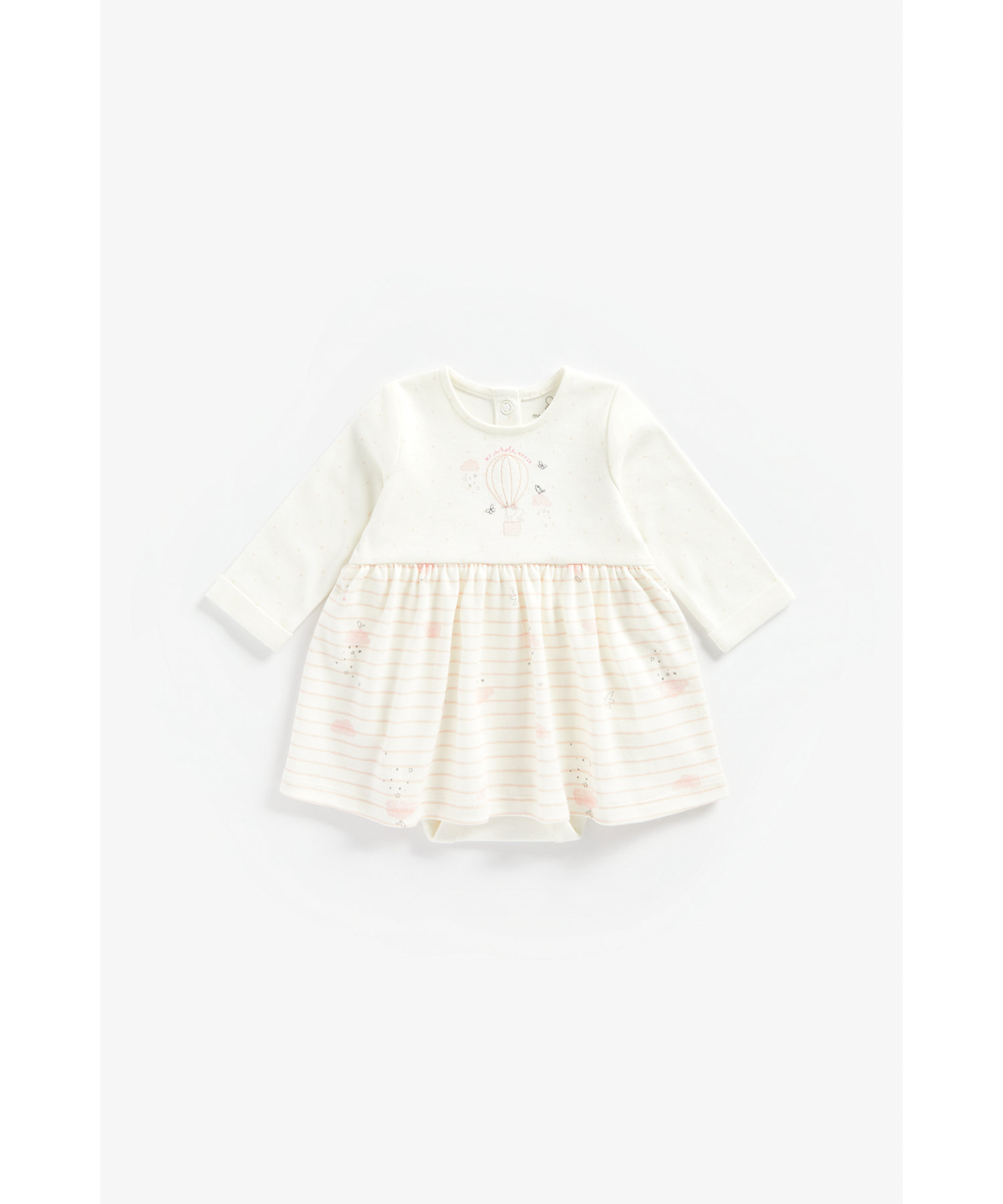 Mothercare | Girls Full Sleeves Romper Dress Hot Air Balloon Embroidery - White