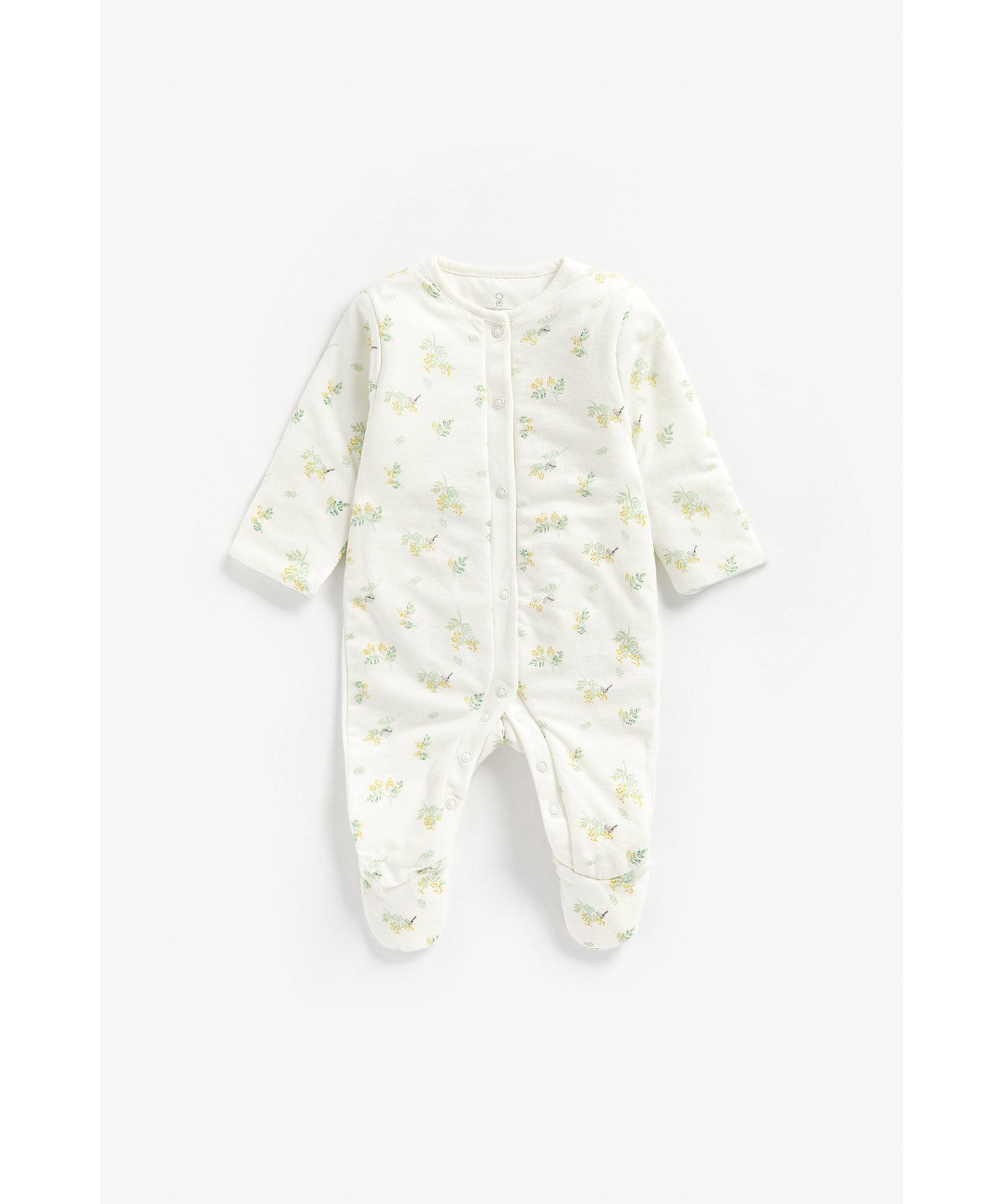 Mothercare | Girls Full Sleeves Wadded Sleepsuit Floral Print - White