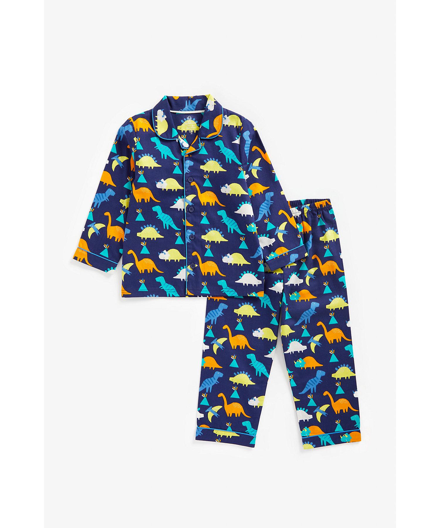 Mothercare | Boys Full Sleeves Pyjama Set Dino Print - Navy