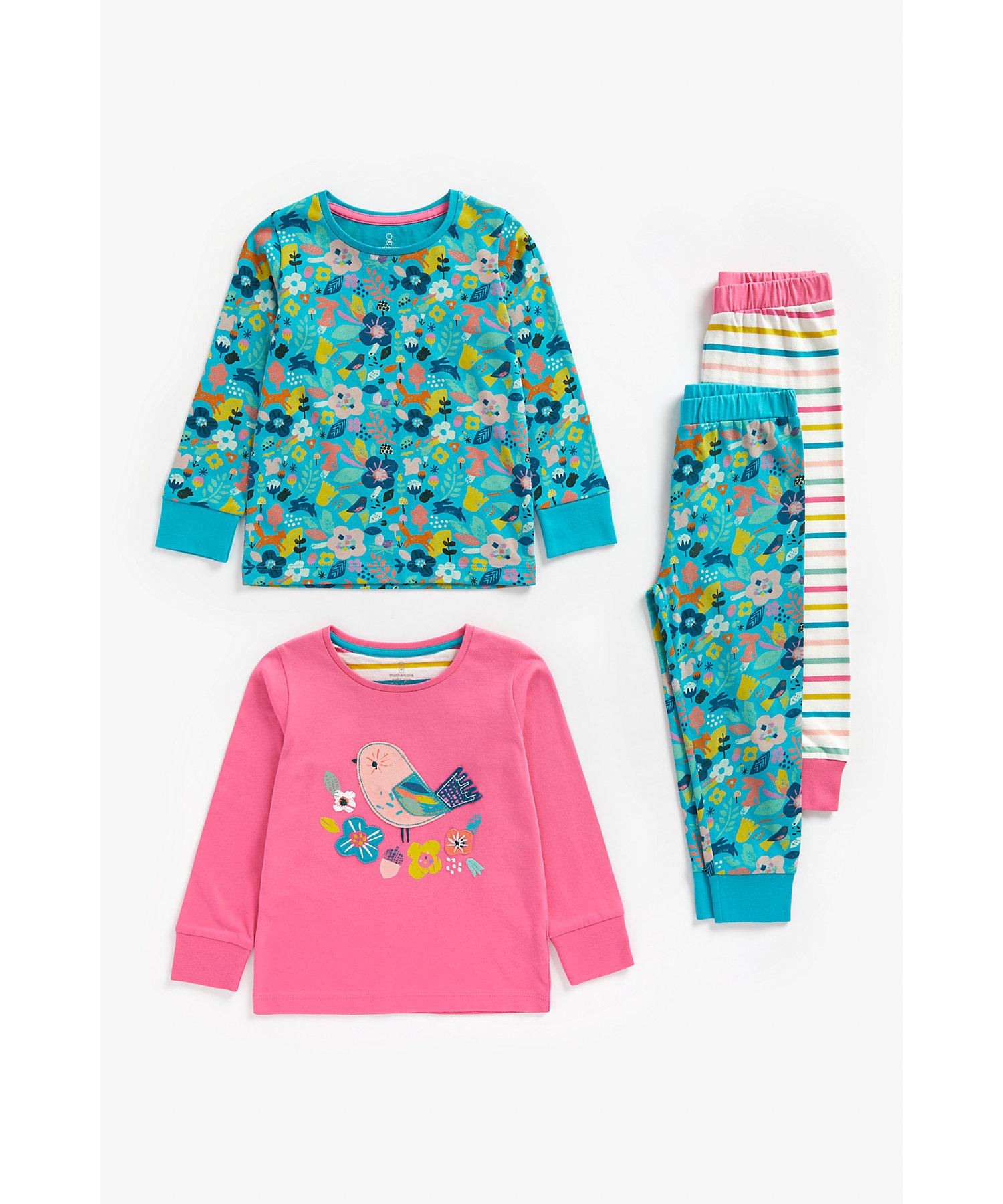 Mothercare | Girls Full Sleeves Pyjama Set Bird Patchwork - Pack Of 2 - Multicolor