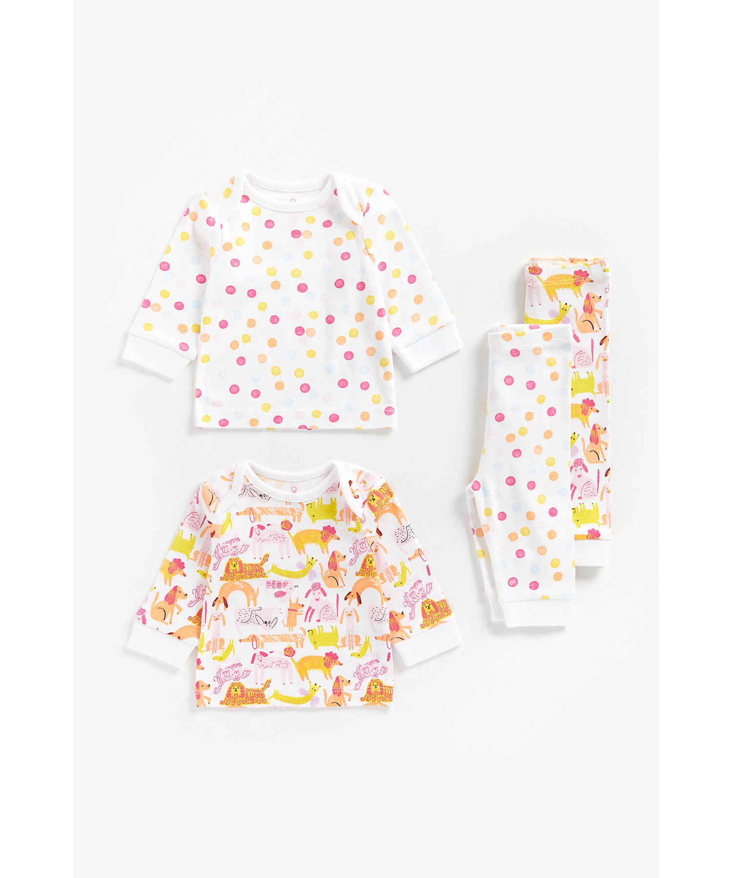 Mothercare   Girls Full Sleeves Pyjama Set Dog And Spot Print - Pack Of 2 - Multicolor