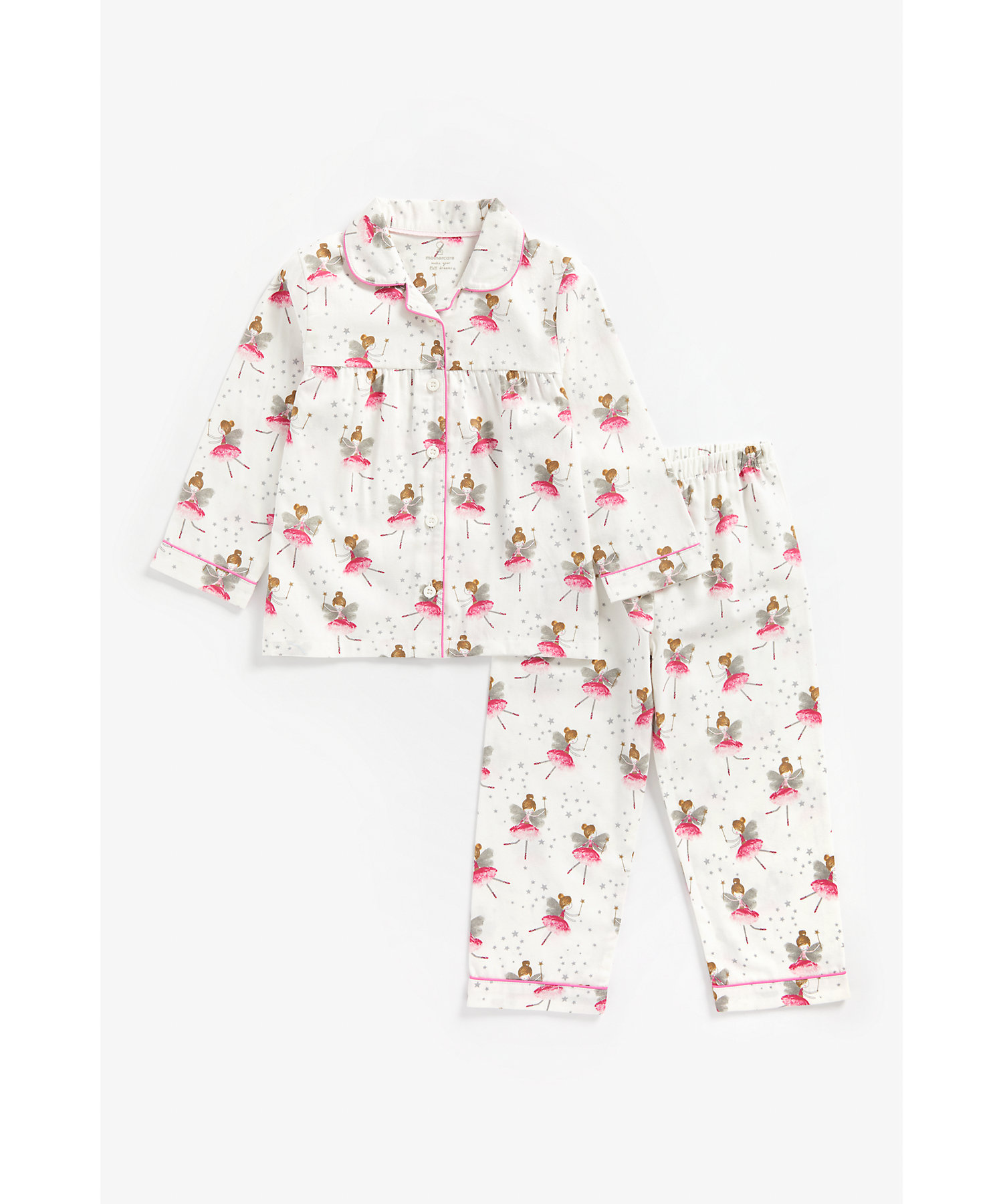 Mothercare | Girls Full Sleeves Woven Pyjama Set Fairy Print - White