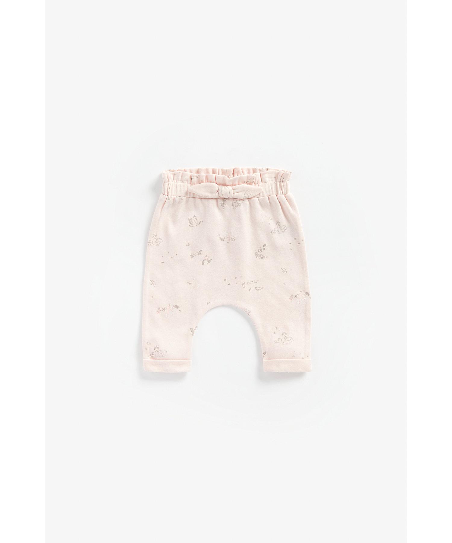 Mothercare | Girls Paper-Bag Waist Leggings Bow Detail - Pink