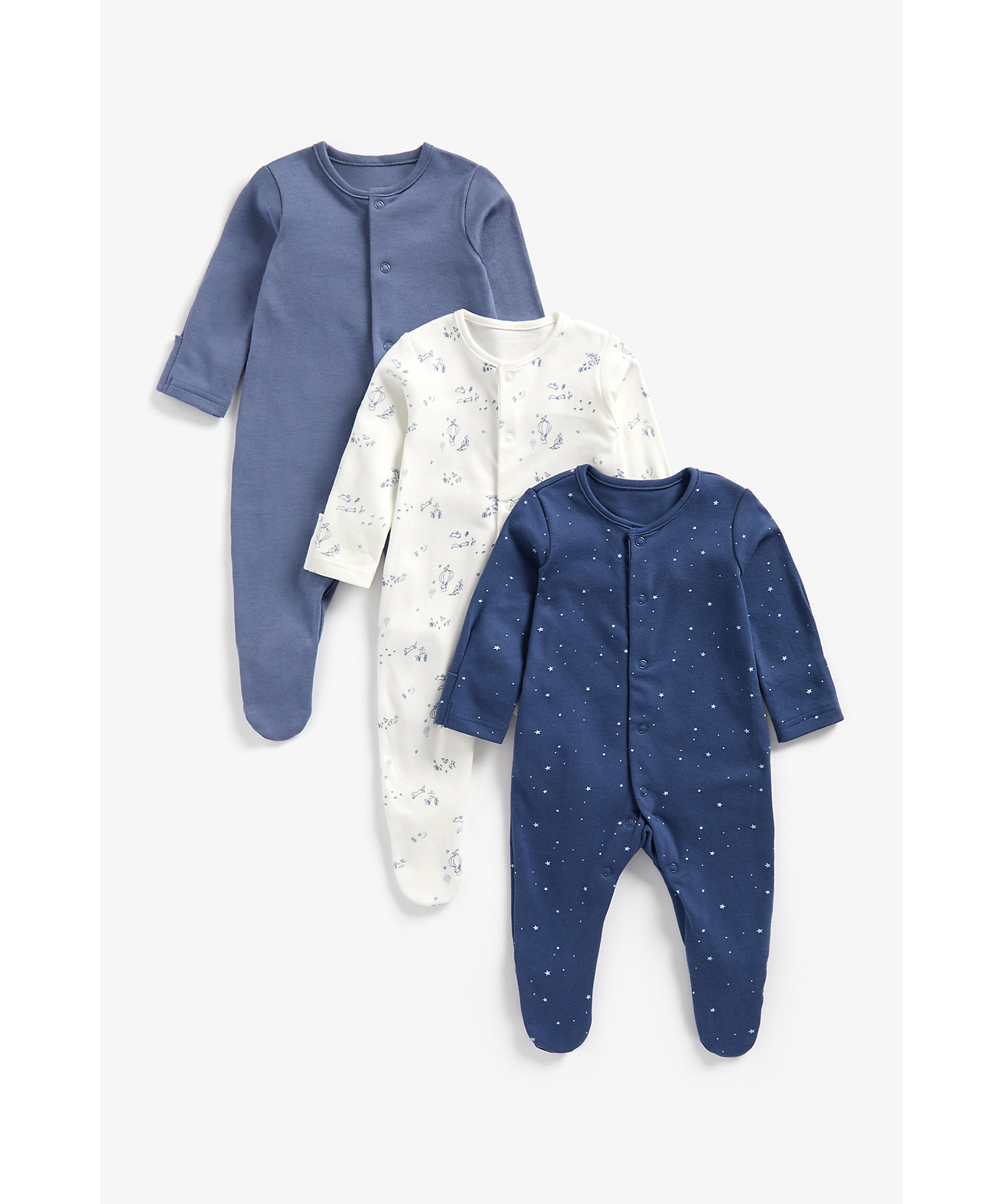 Mothercare | Boys Full Sleeves Sleepsuit Star And Hot Air Balloon Print - Pack Of 3 - Blue
