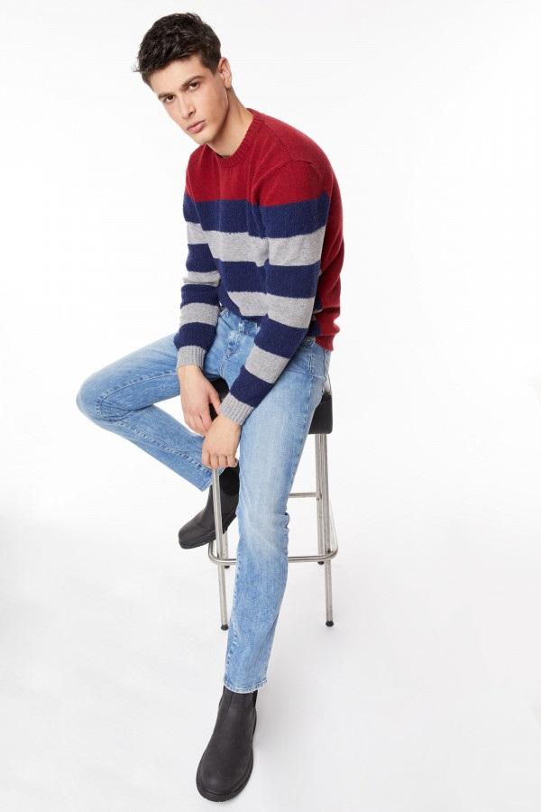 GAS | Earth Red Men's Everi Stripes 2/R Striped Sweater