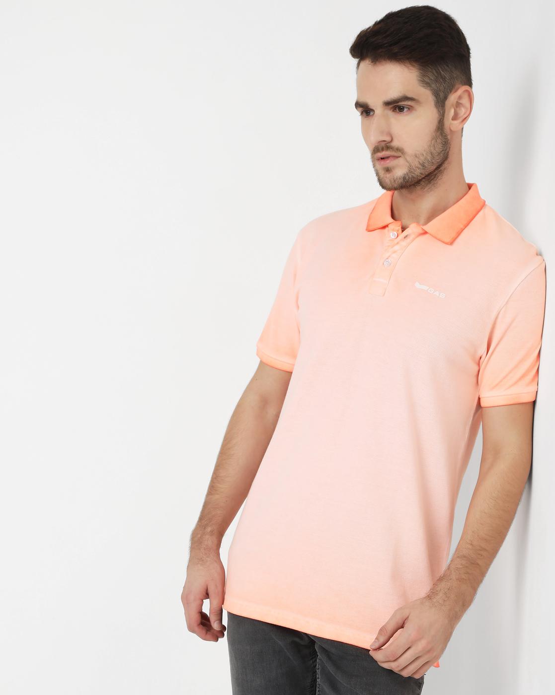 GAS | Men's Ralph Logo Neon In Fluo Orange Solid Polo