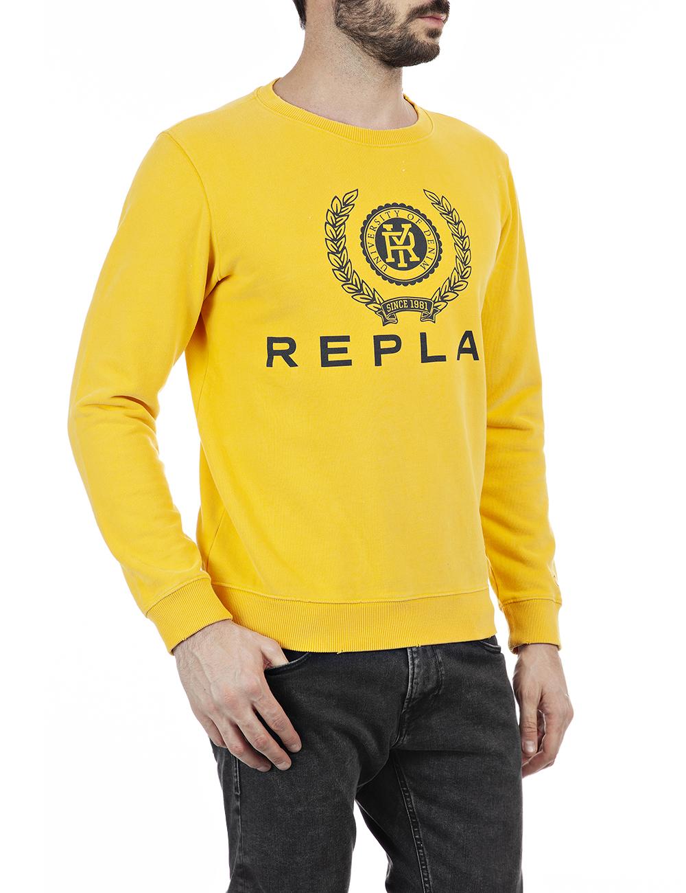 REPLAY   Yellow peach hand cotton fleece Sweatshirt