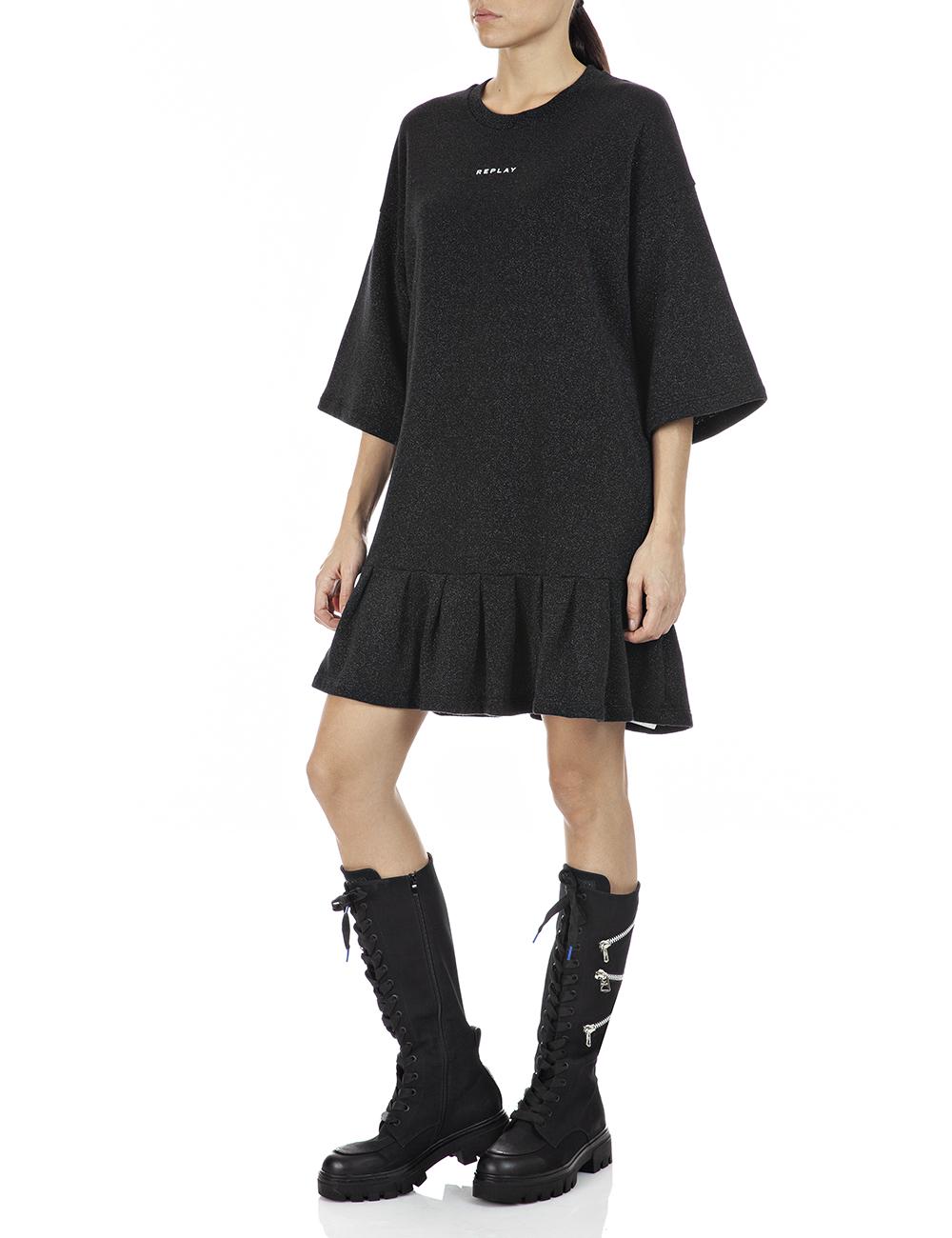 REPLAY | Black Lurex lurex fleece Dress