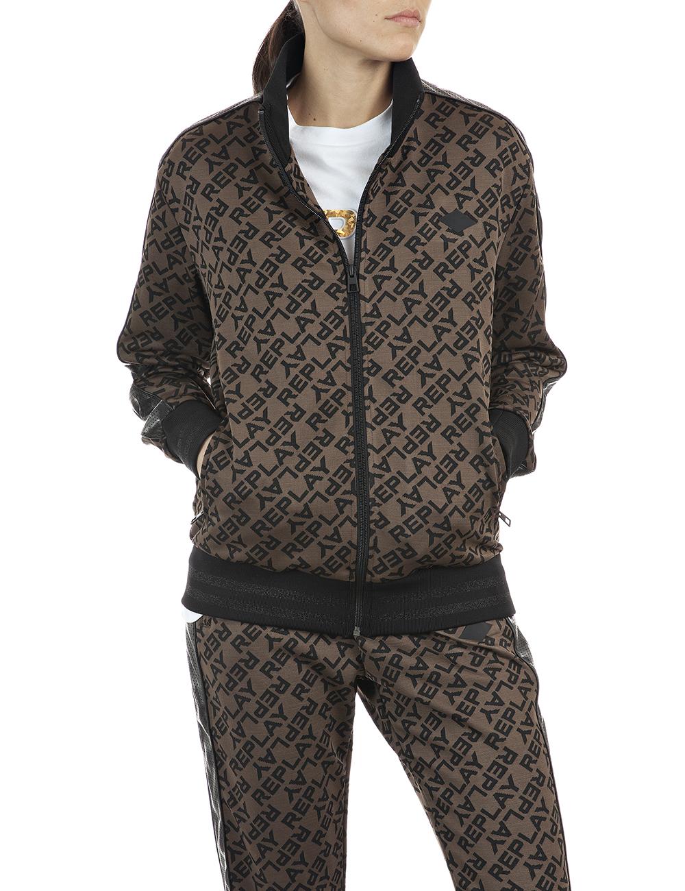 REPLAY | Brown&Black jacquard logo tech fleece Sweatshirt