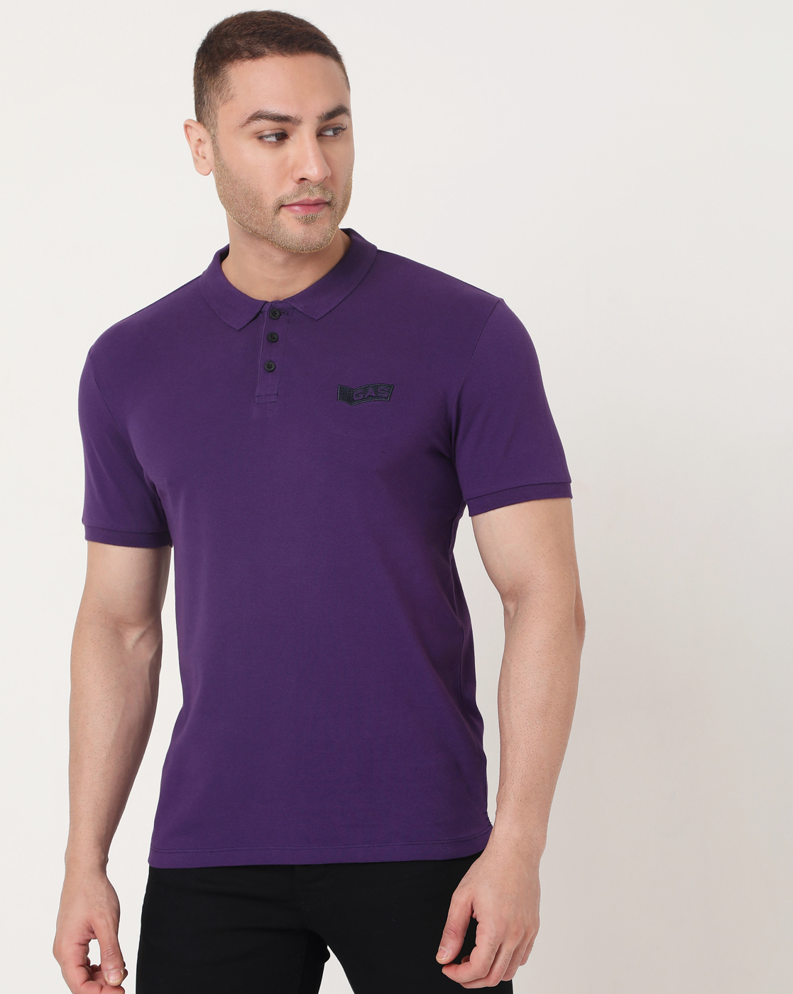 GAS   Men's Ralph Emb Ec In Slim Fit Solid Polo